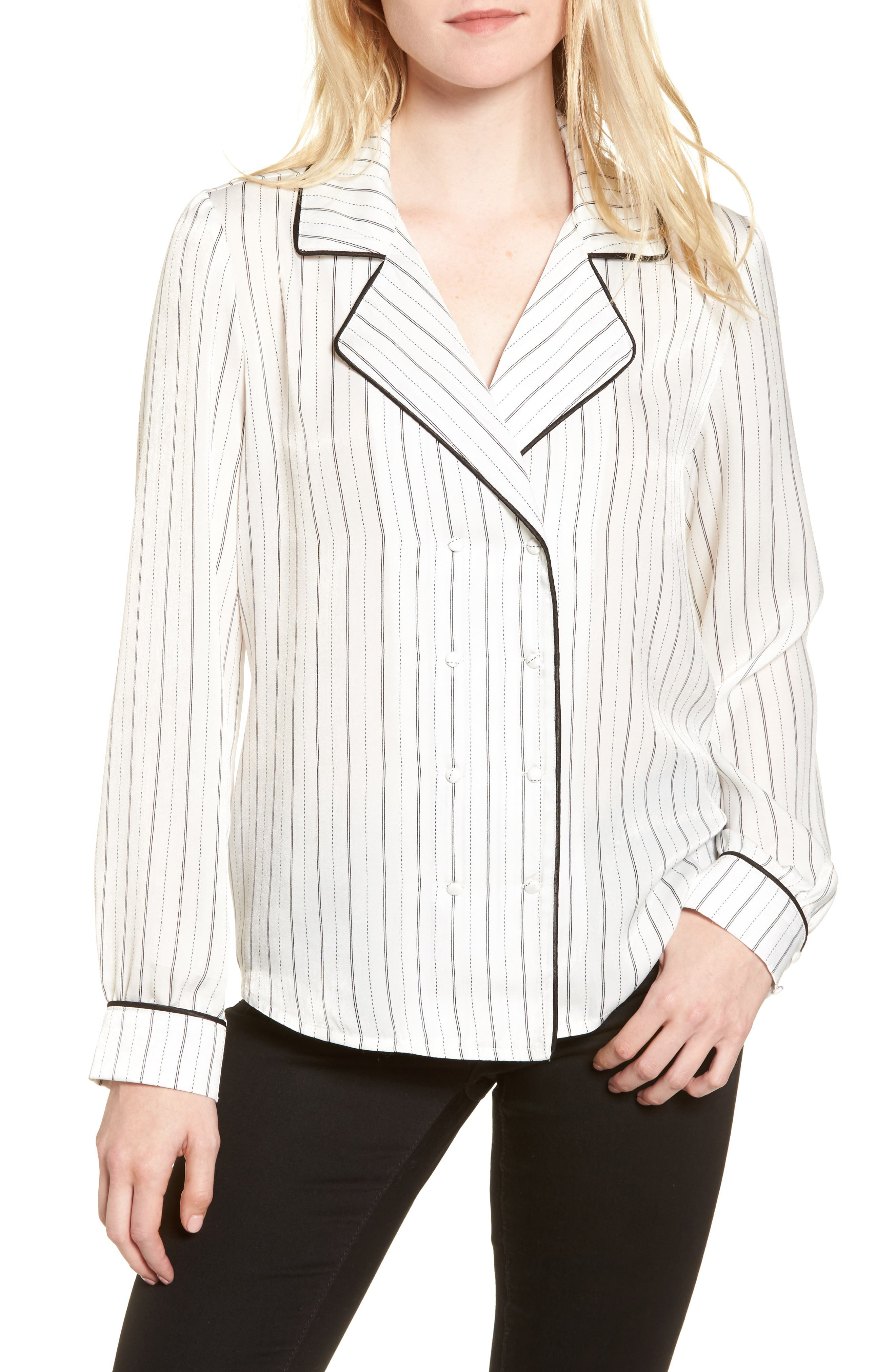Double Breasted Pajama Top,                         Main,                         color, Stripe