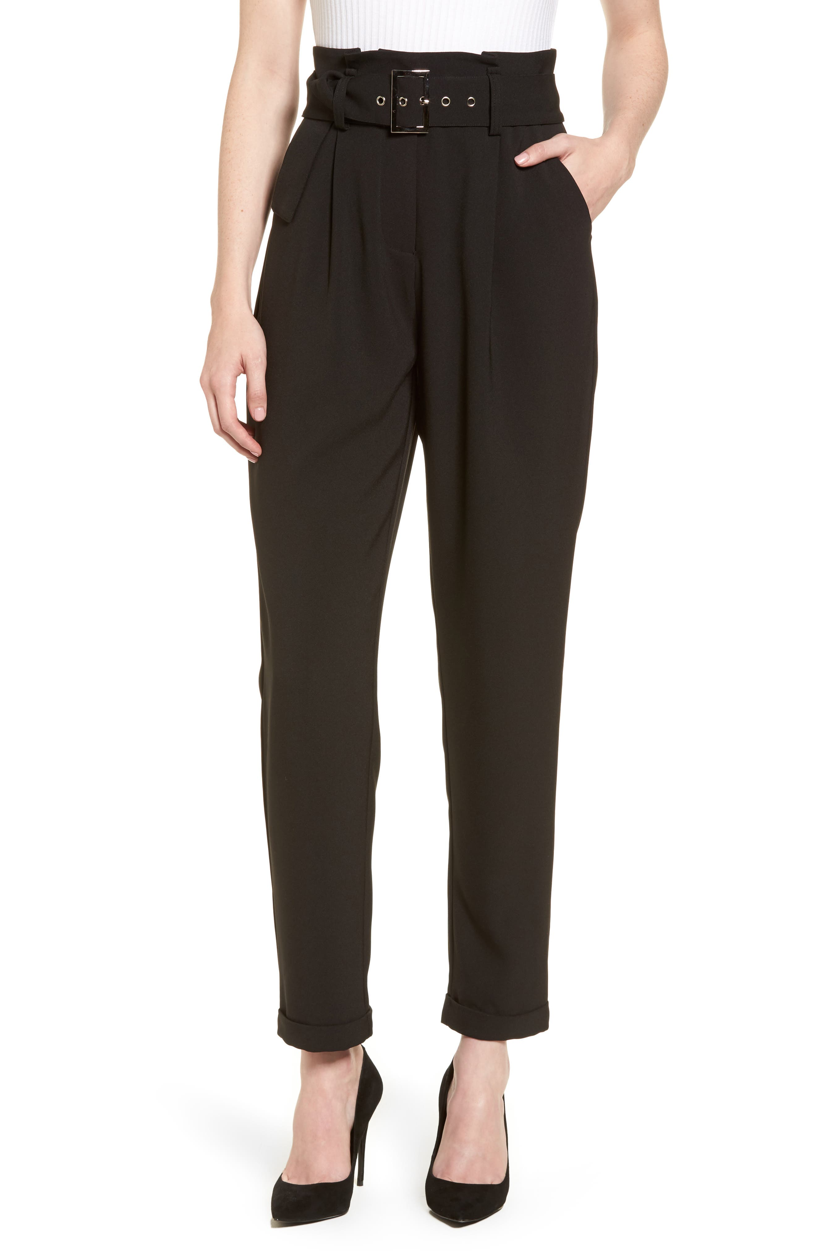 Main Image - LOST INK Paperbag Waist Trousers