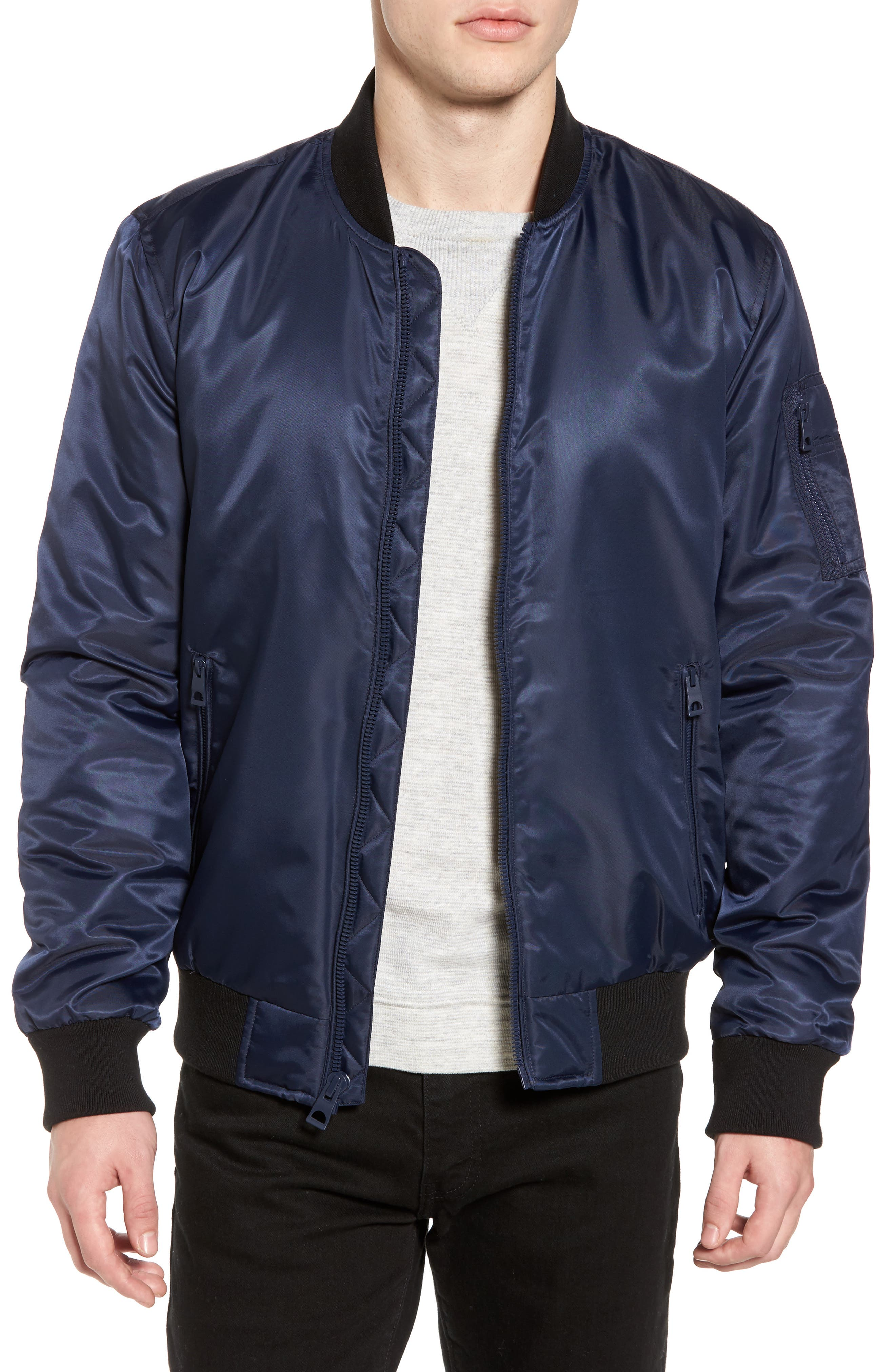 Flight Water Resistant Satin Bomber Jacket,                         Main,                         color, Navy