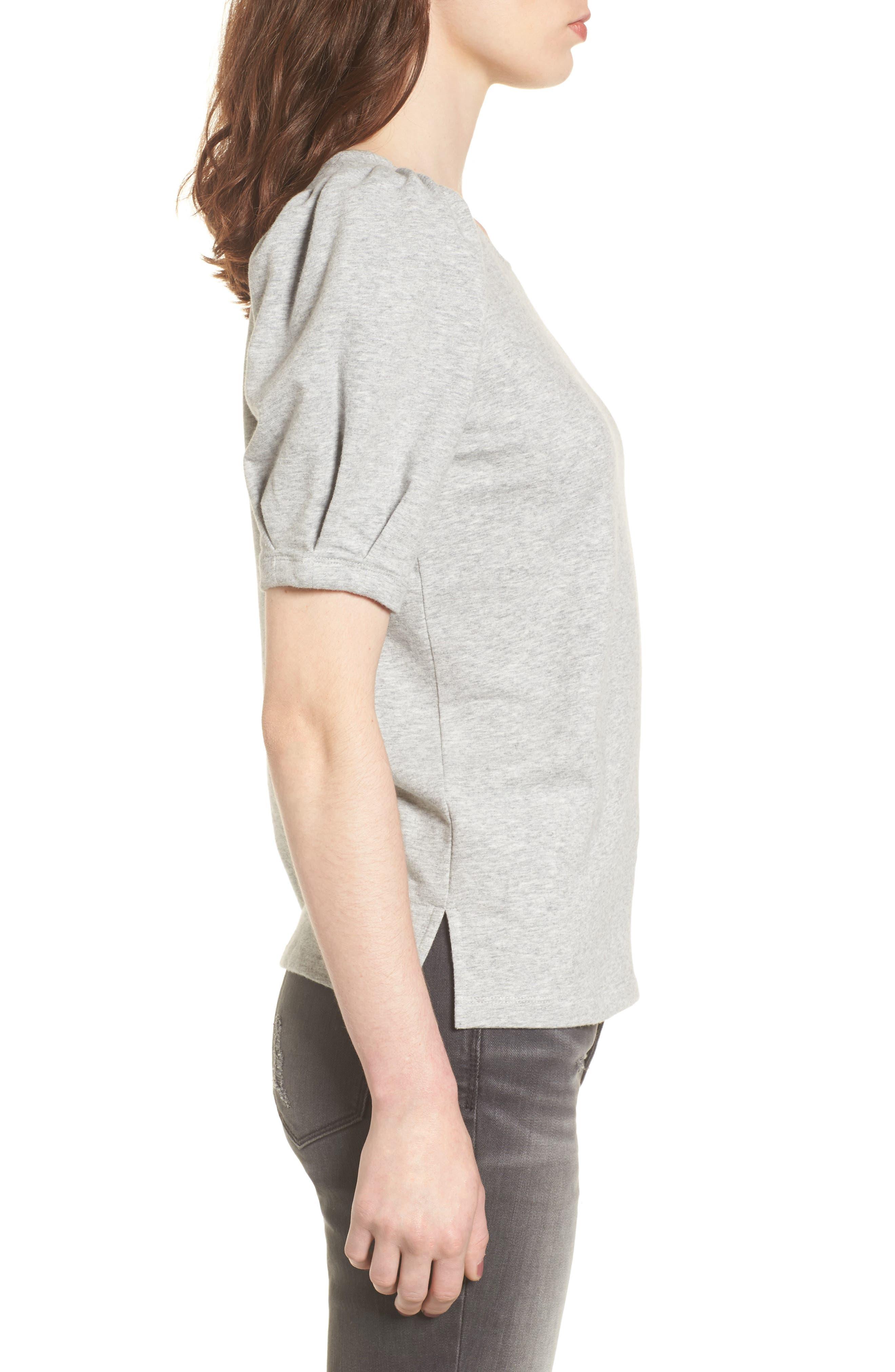 Tie Back Sweatshirt,                             Alternate thumbnail 3, color,                             Grey Heather