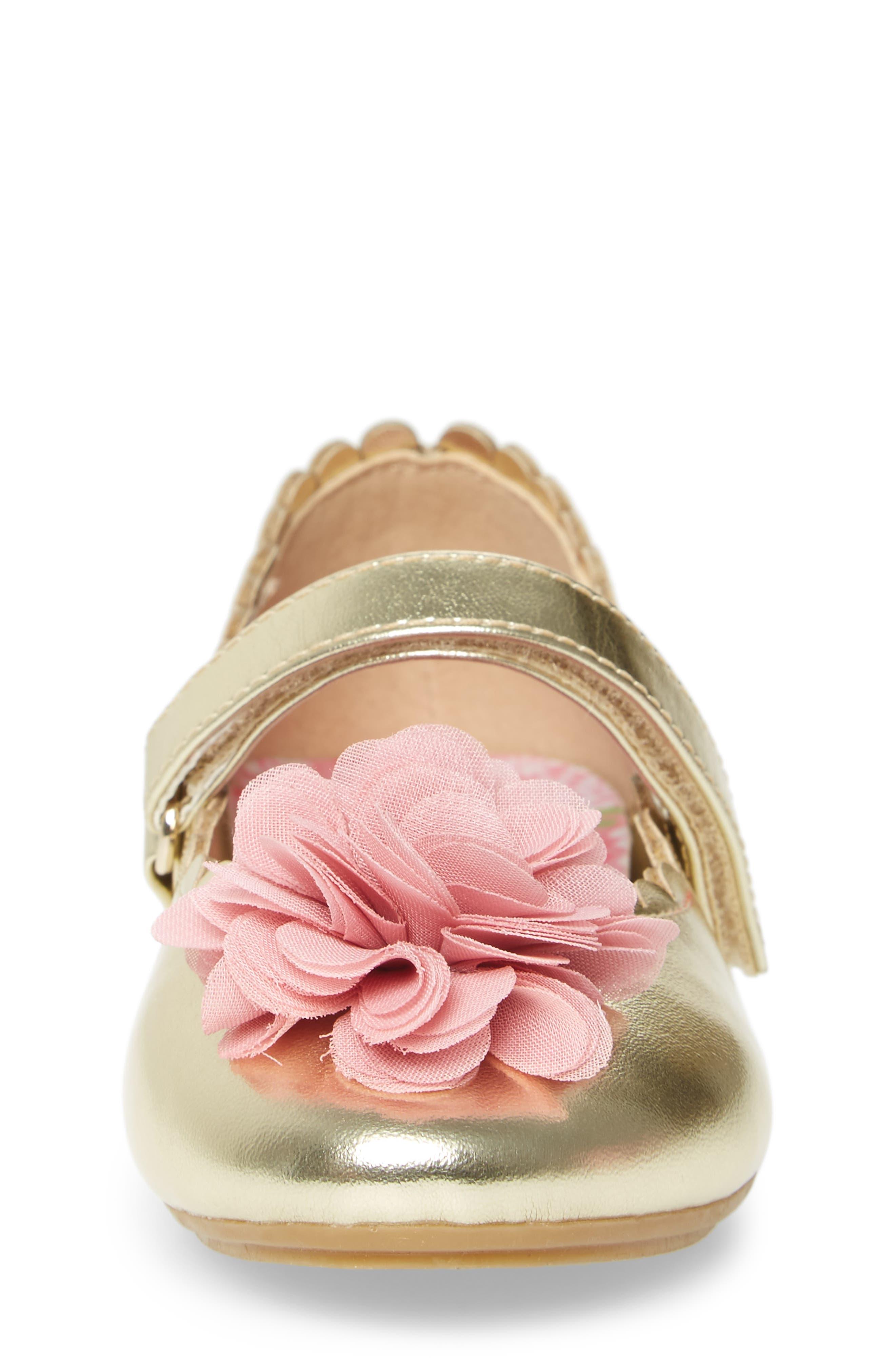 Alternate Image 4  - WellieWishers from American Girl Ashlyn Flower Strap Ballet Flat (Walker & Toddler)