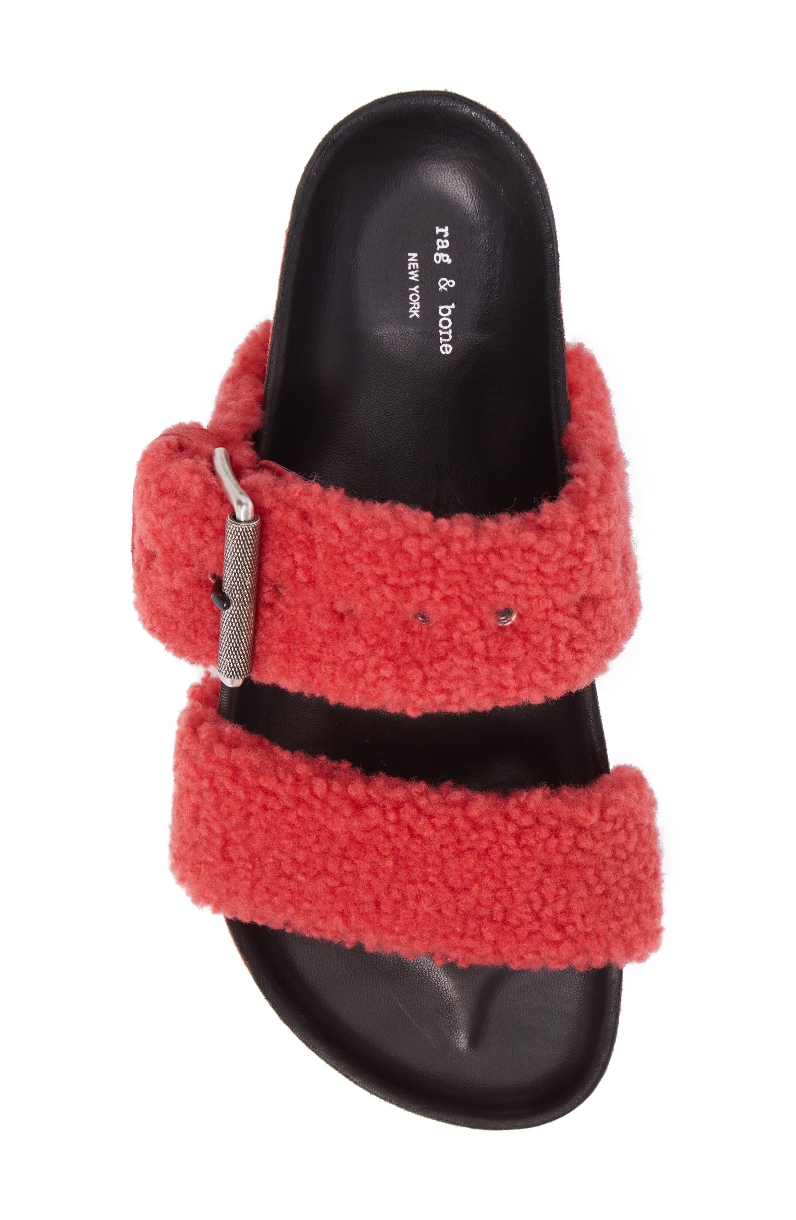 Evin Genuine Shearling Slide Sandal,                             Alternate thumbnail 5, color,                             Berry