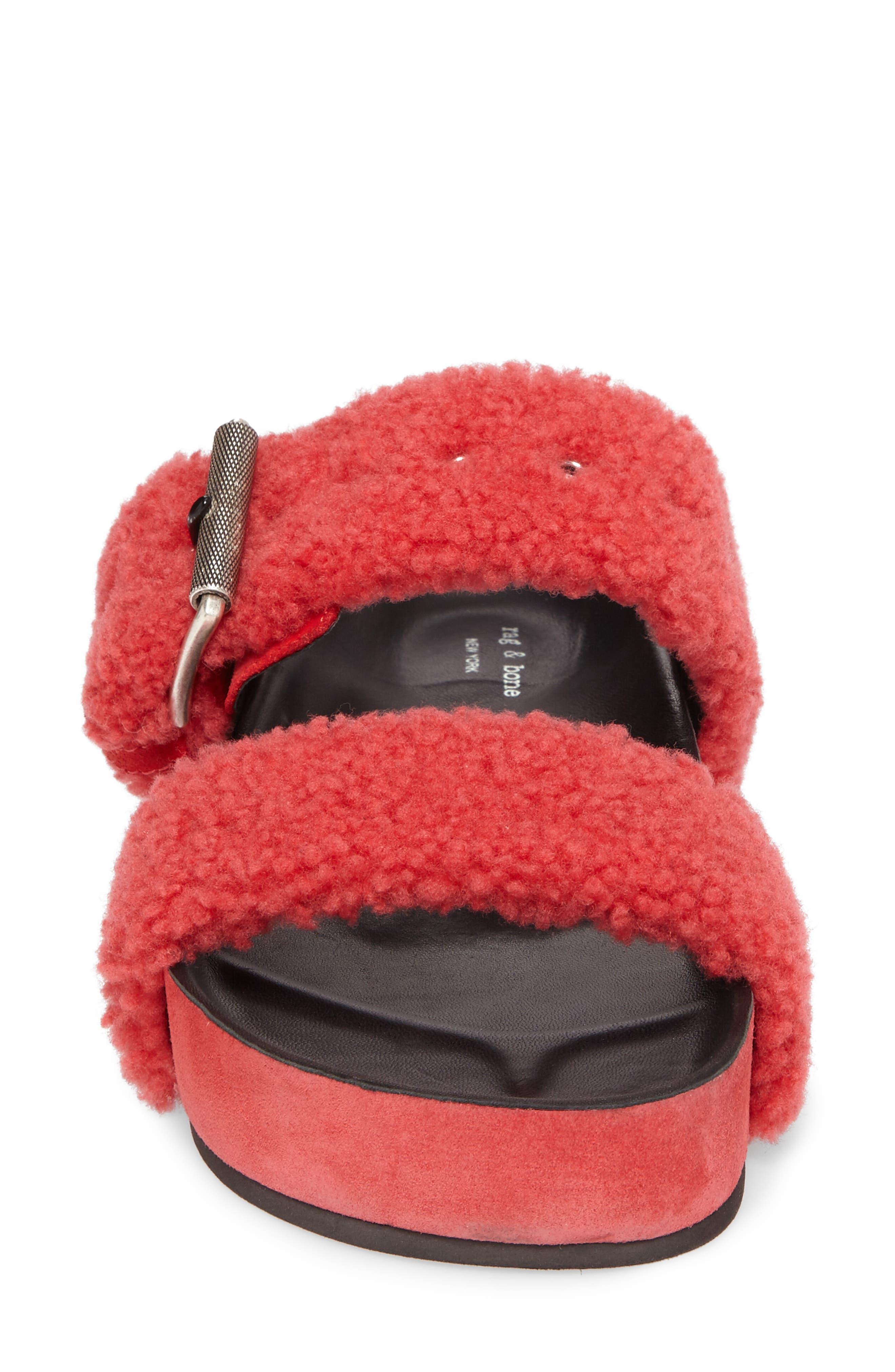 Evin Genuine Shearling Slide Sandal,                             Alternate thumbnail 4, color,                             Berry