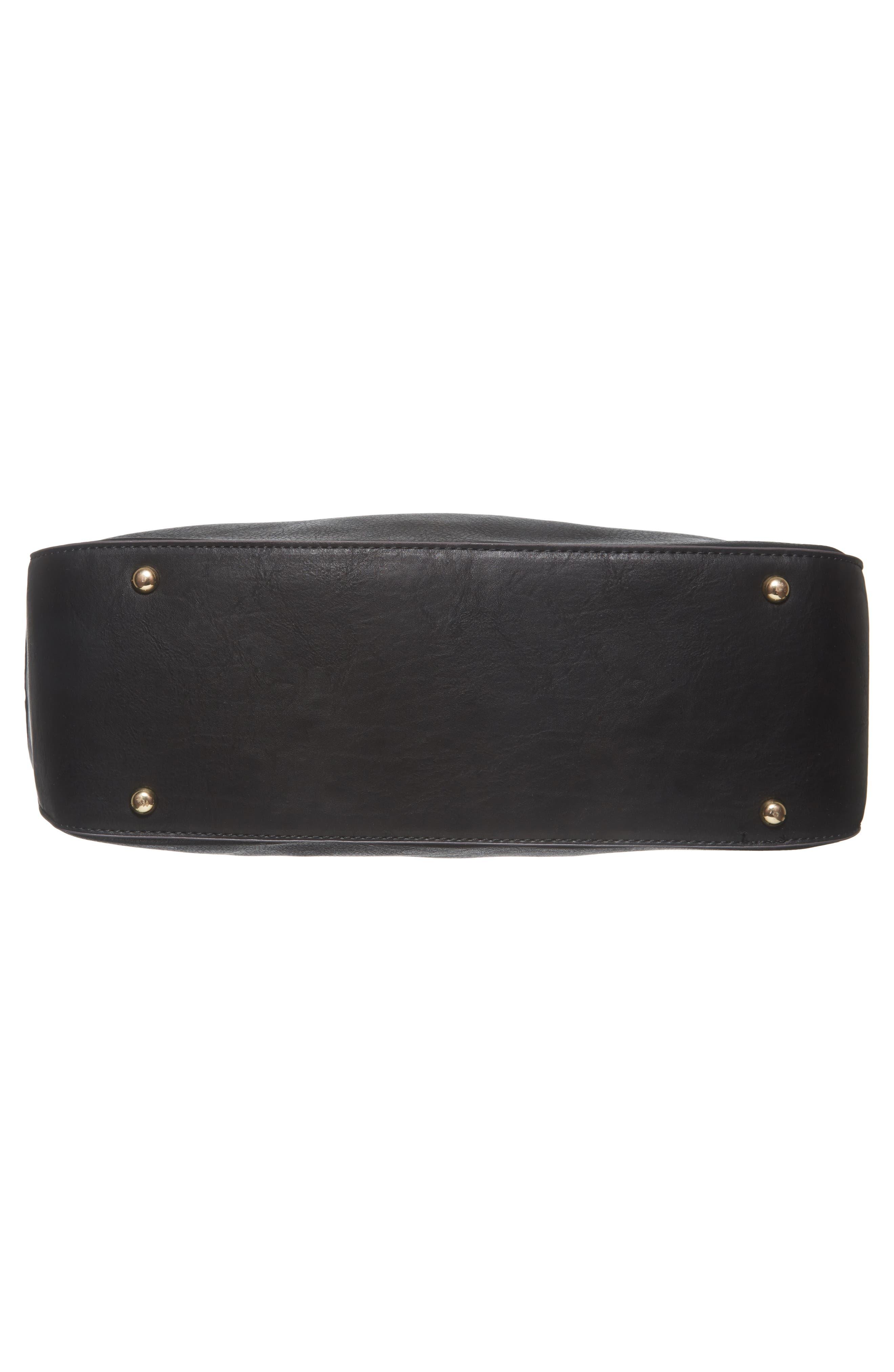 Faux Leather Tote,                             Alternate thumbnail 6, color,                             Black
