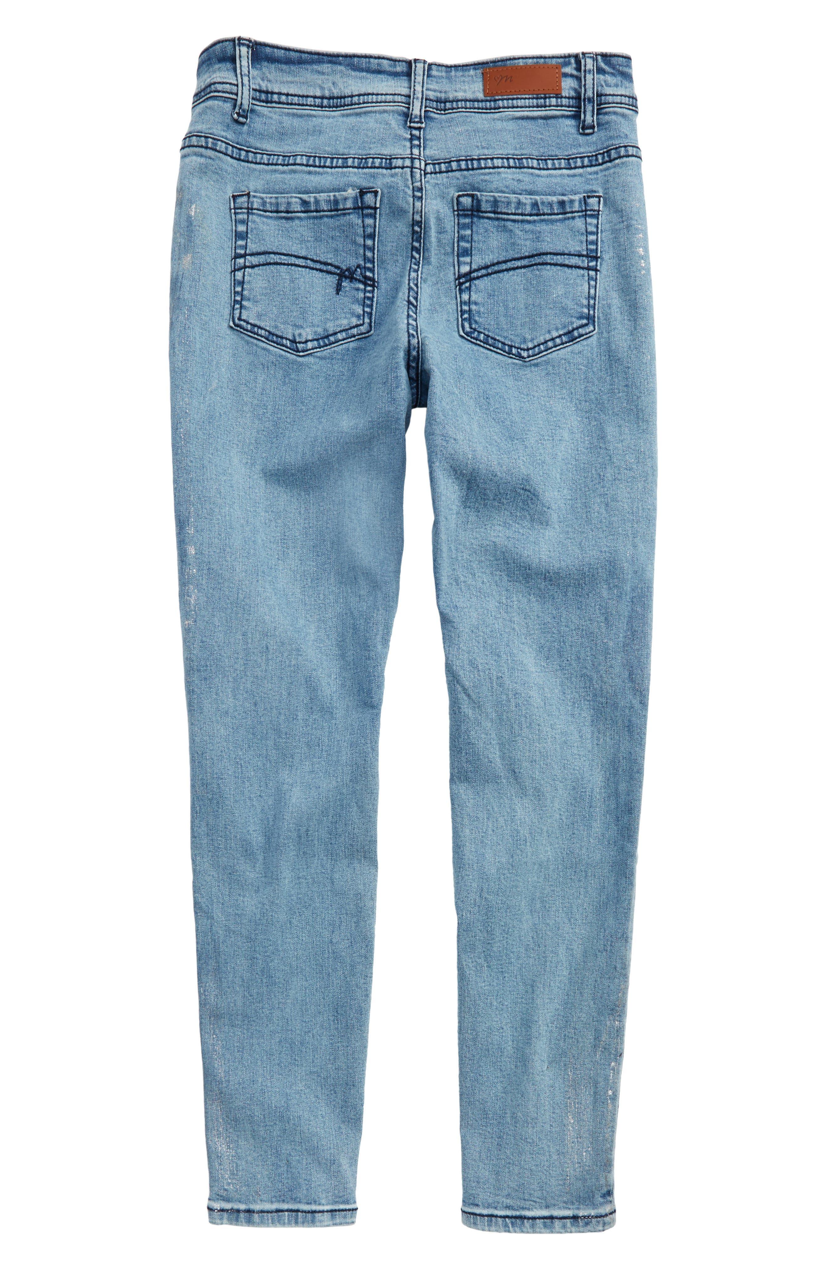 Distressed Skinny Jeans,                             Alternate thumbnail 2, color,                             Denim