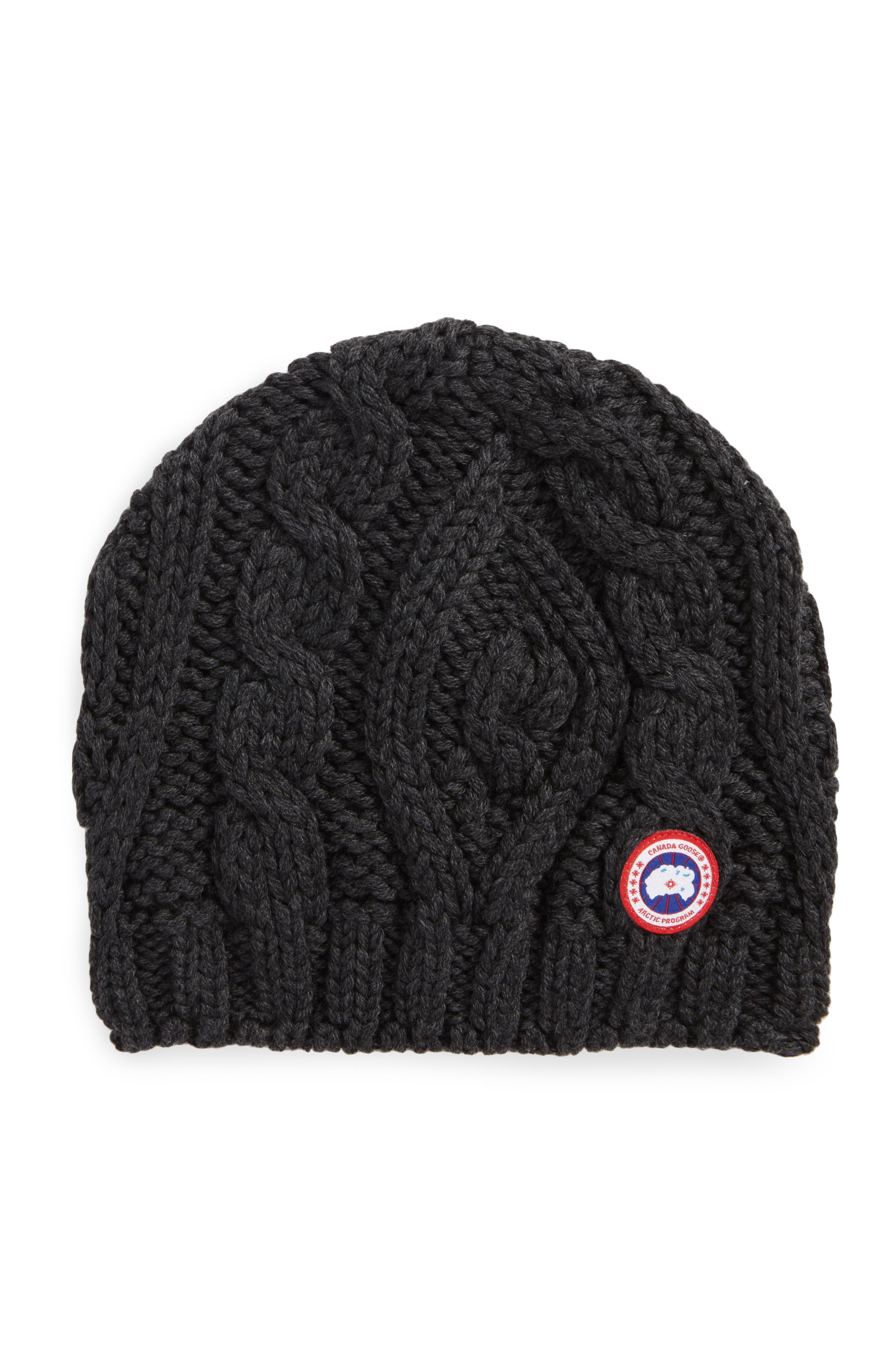 Alternate Image 1 Selected - Canada Goose Cable Knit Merino Wool Beanie