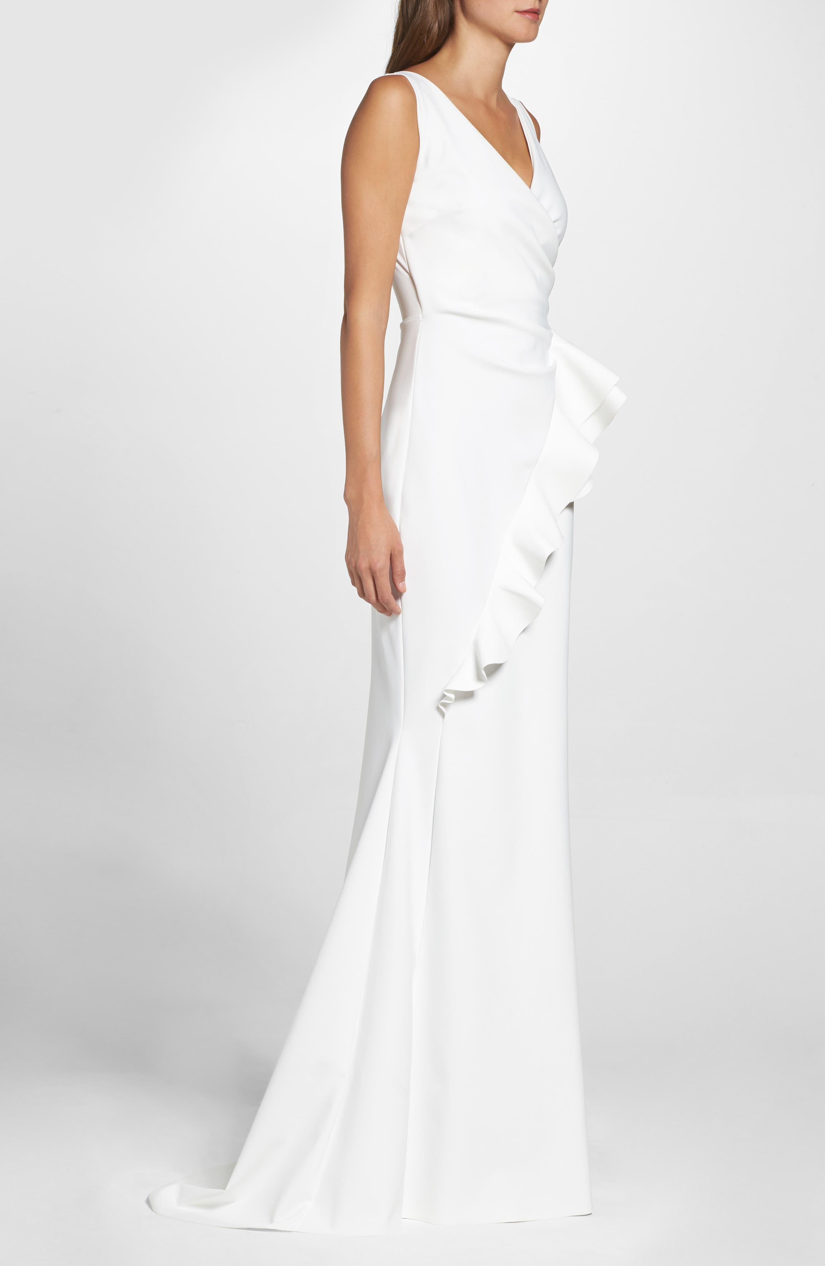 Keke Ruffle Front Surplice Gown,                             Alternate thumbnail 3, color,                             White