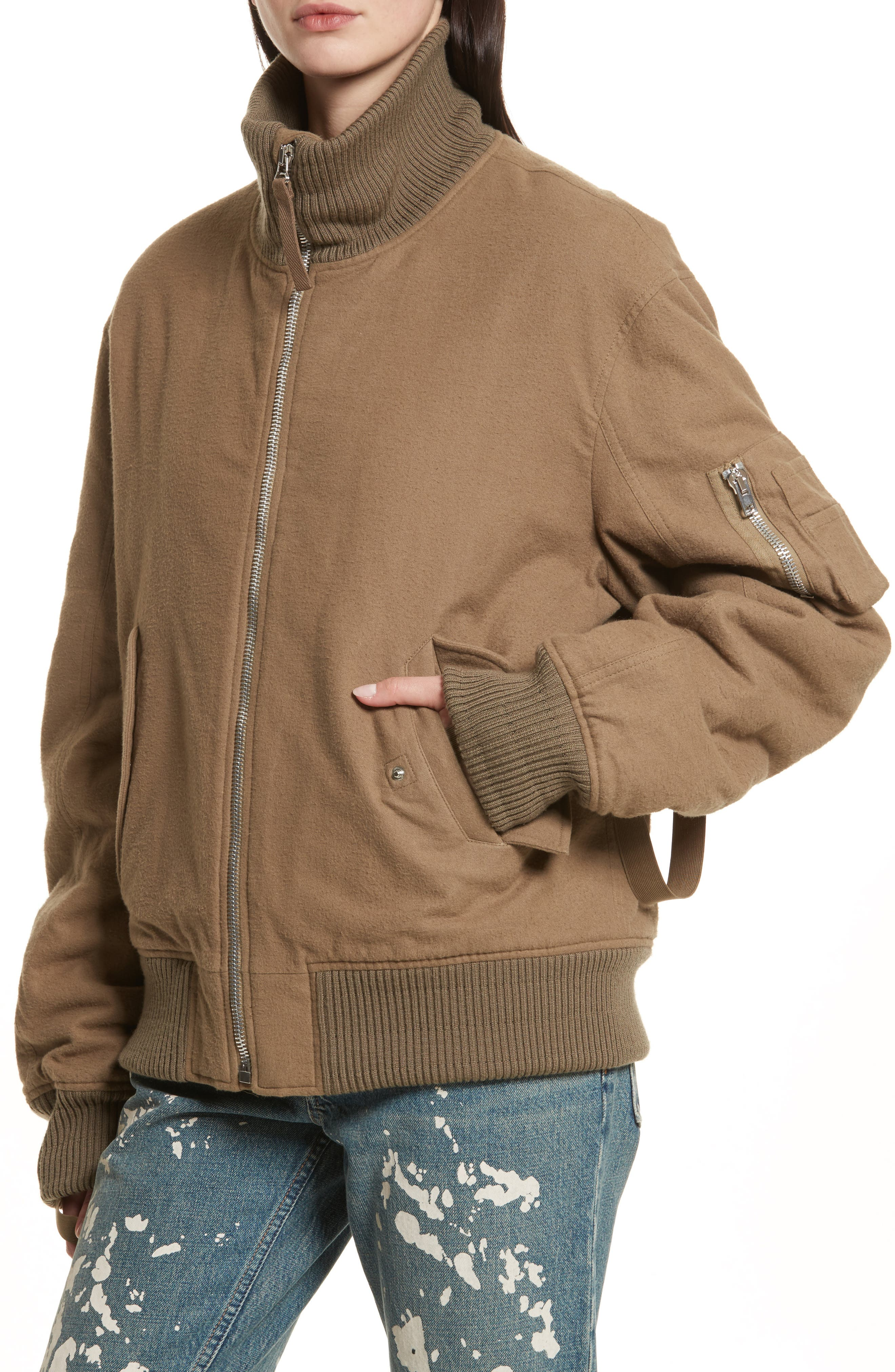 Re-Edition High Collar Bomber Jacket,                             Alternate thumbnail 5, color,                             Army Green