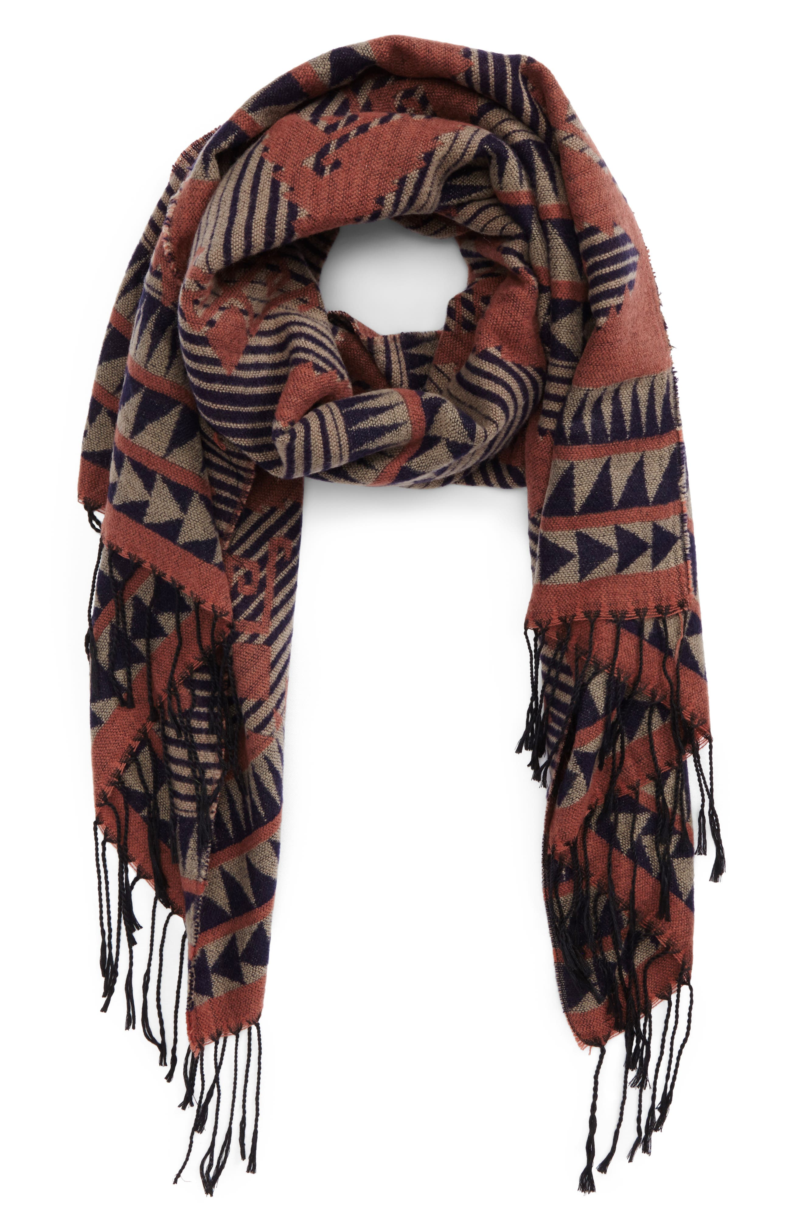 La Double 7 Abstract Print Oblong Scarf