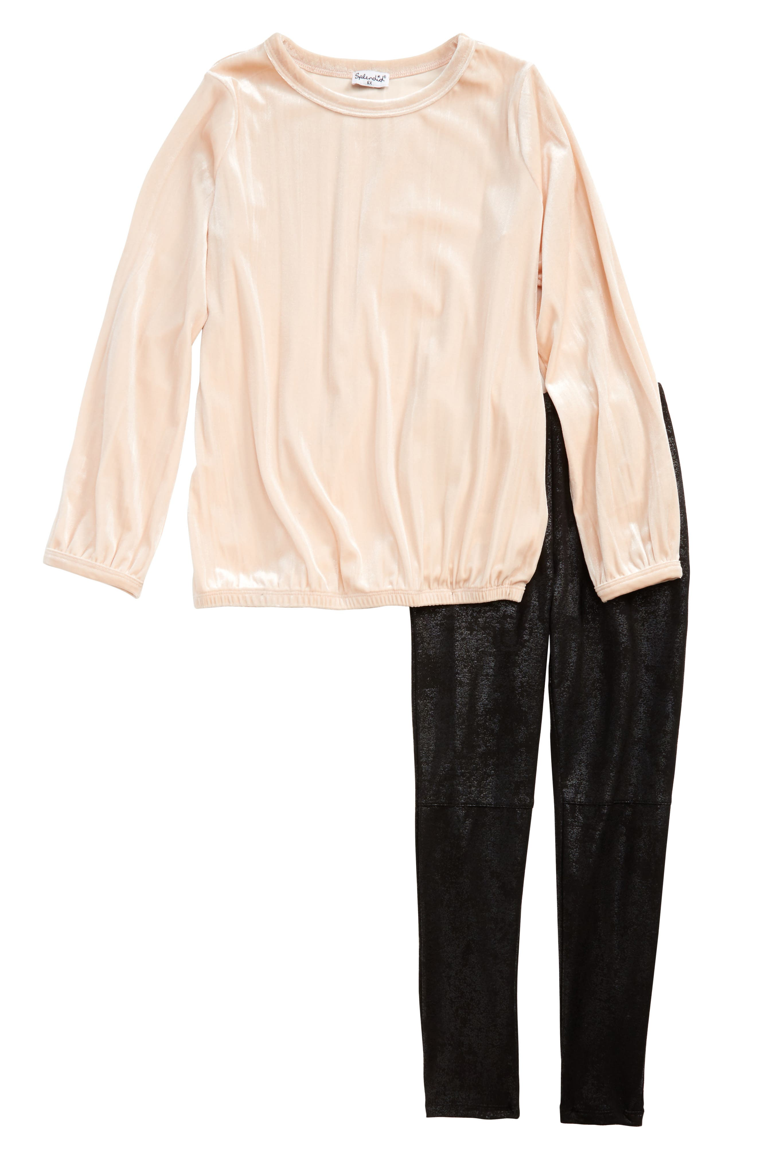 Velour Tunic & Faux Leather Leggings Set,                         Main,                         color, Light Pink