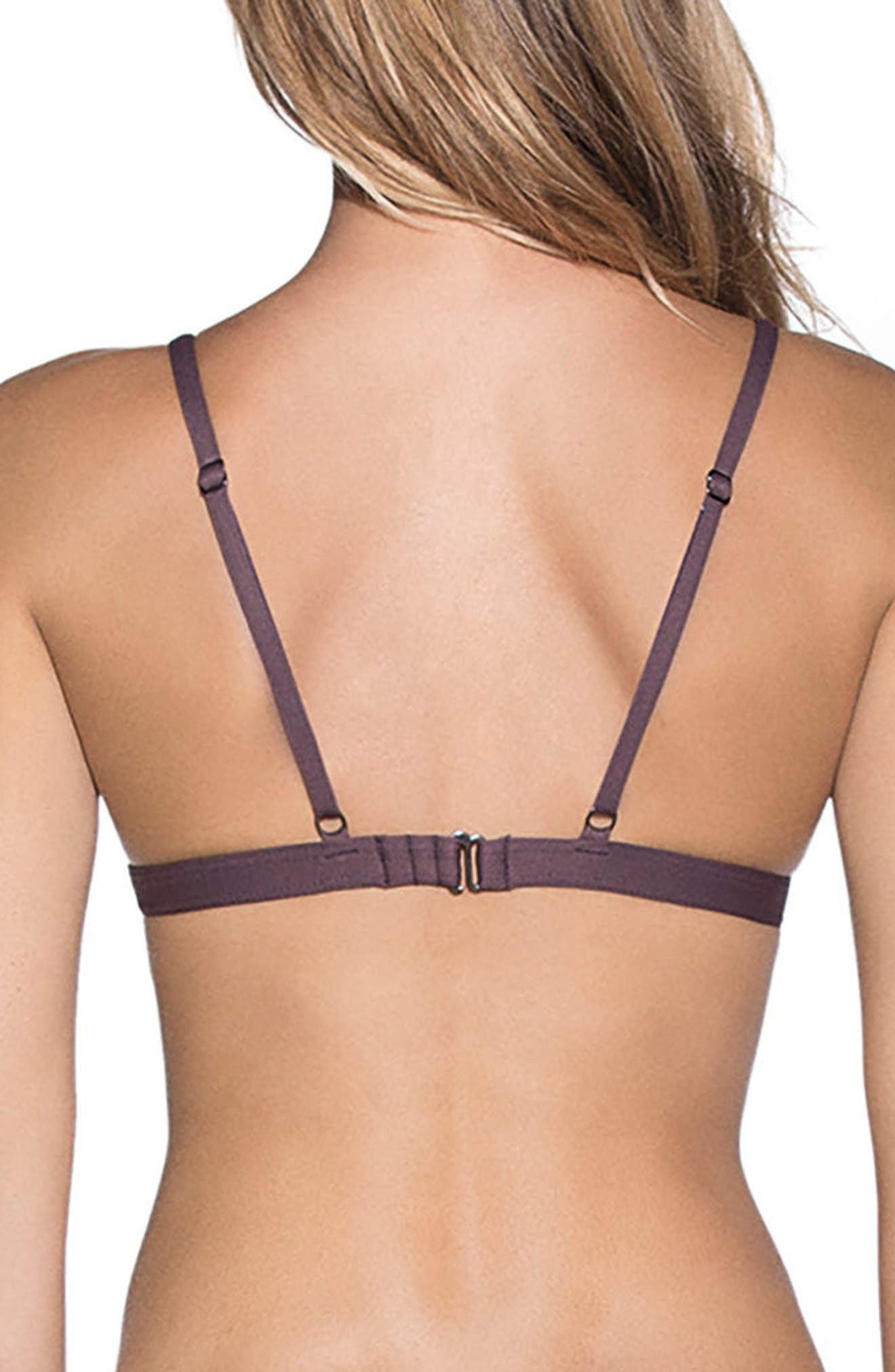 Fig Delightful Reversible Triangle Bikini Top,                             Alternate thumbnail 3, color,                             Dark Purple