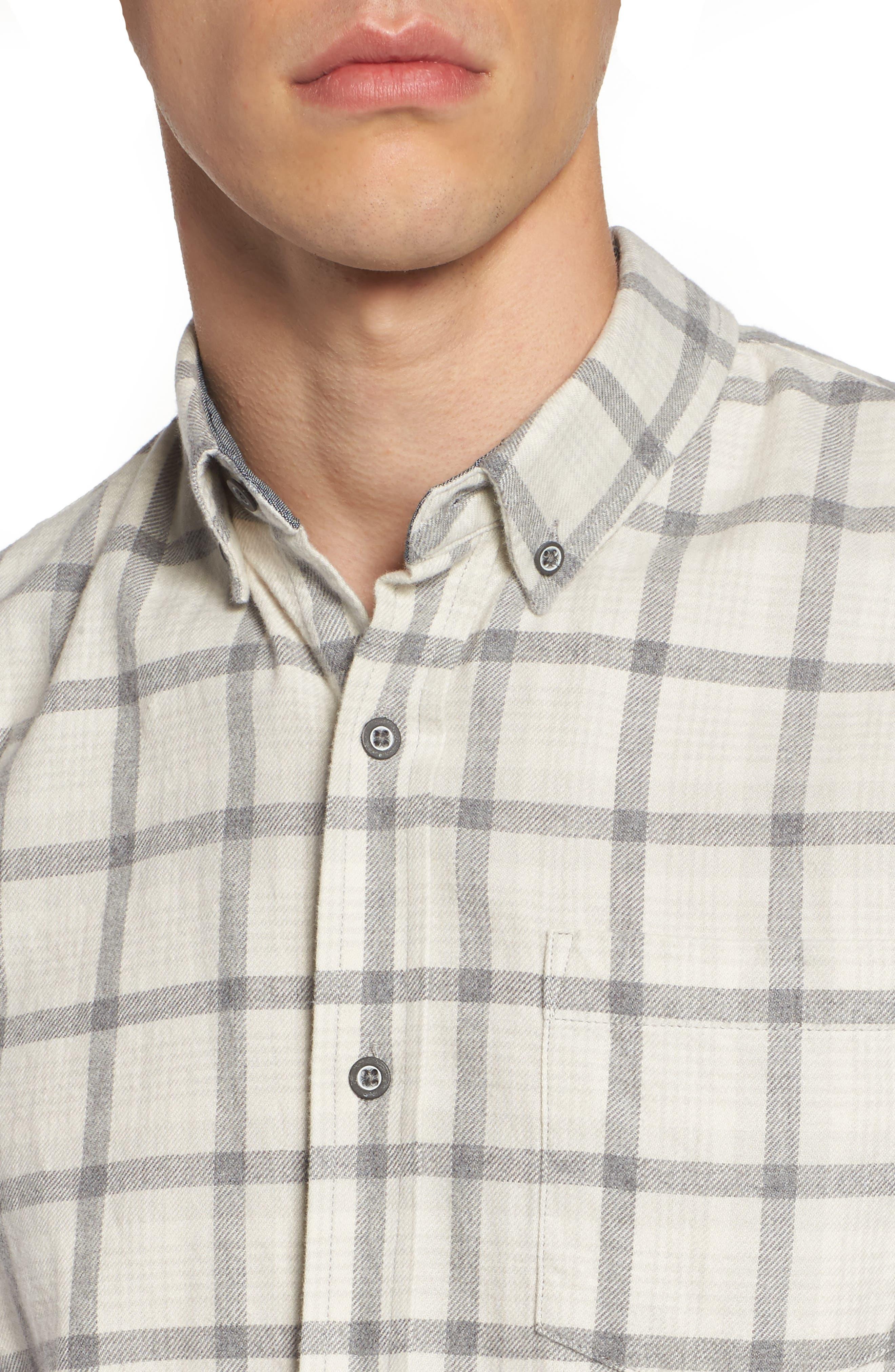 Grady Slim Fit Plaid Sport Shirt,                             Alternate thumbnail 4, color,                             Moon Glade/ Heather Grey