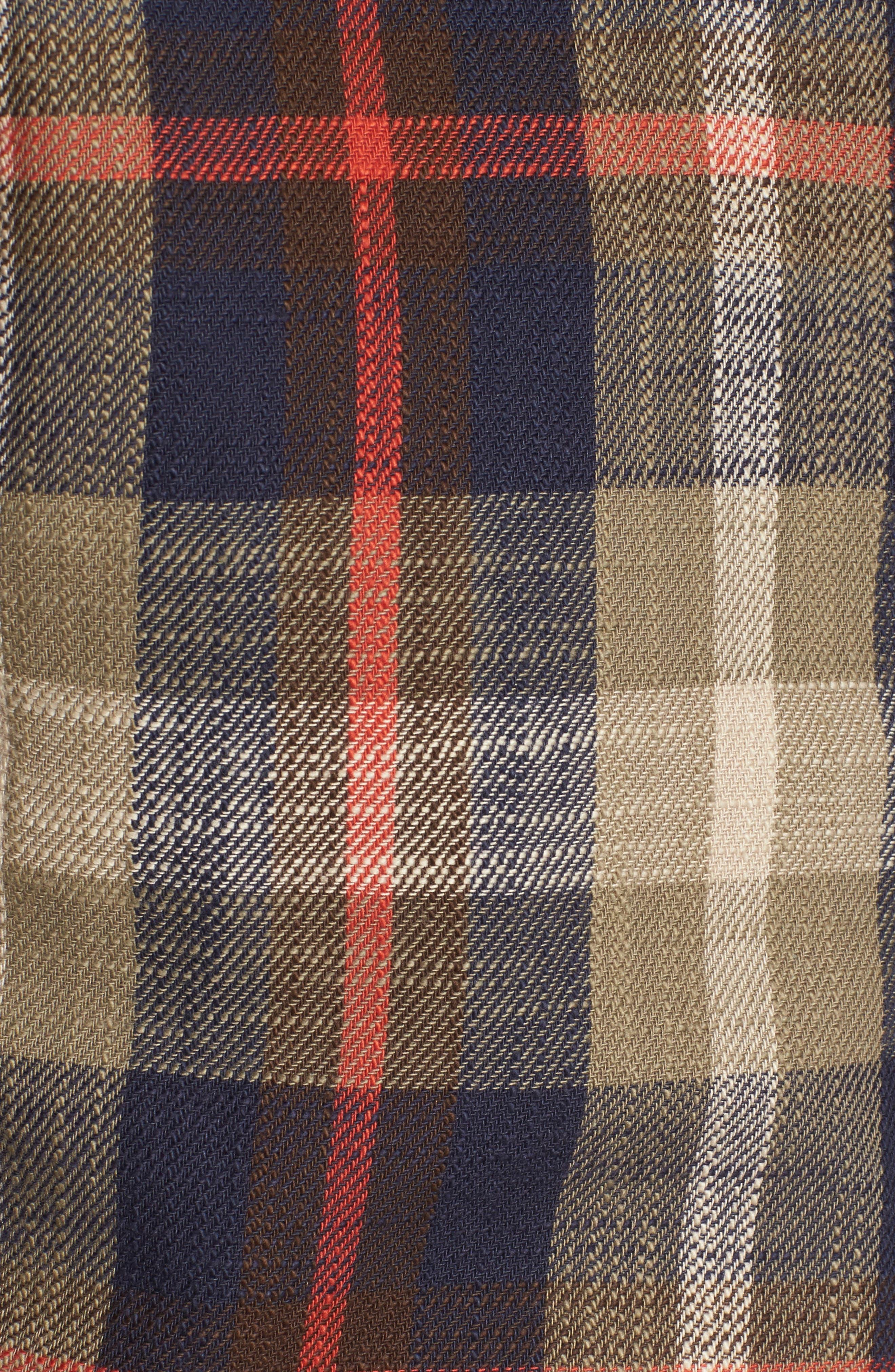 Brae Plaid Flannel Shirt,                             Alternate thumbnail 5, color,                             Green Check