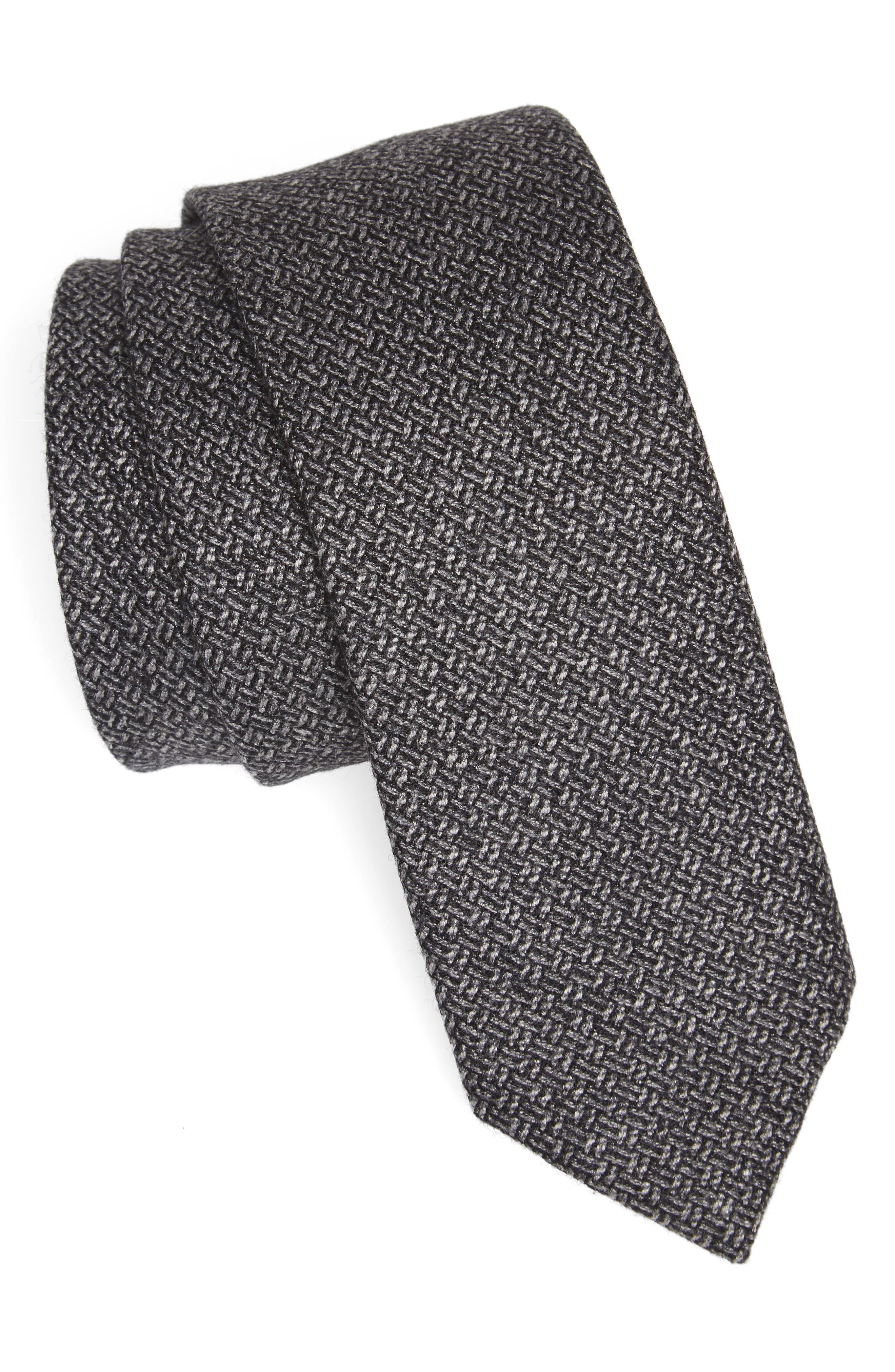 Blackboard Wool Skinny Tie,                             Main thumbnail 1, color,                             Grey