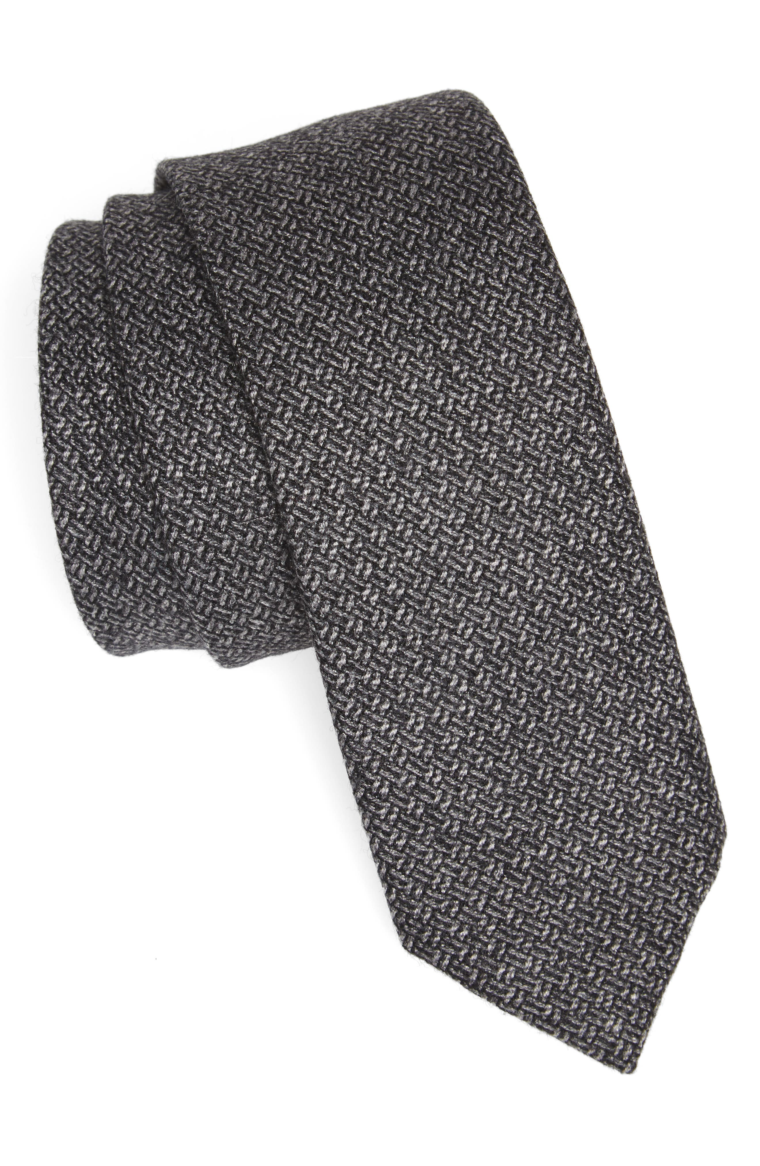 Blackboard Wool Skinny Tie,                         Main,                         color, Grey