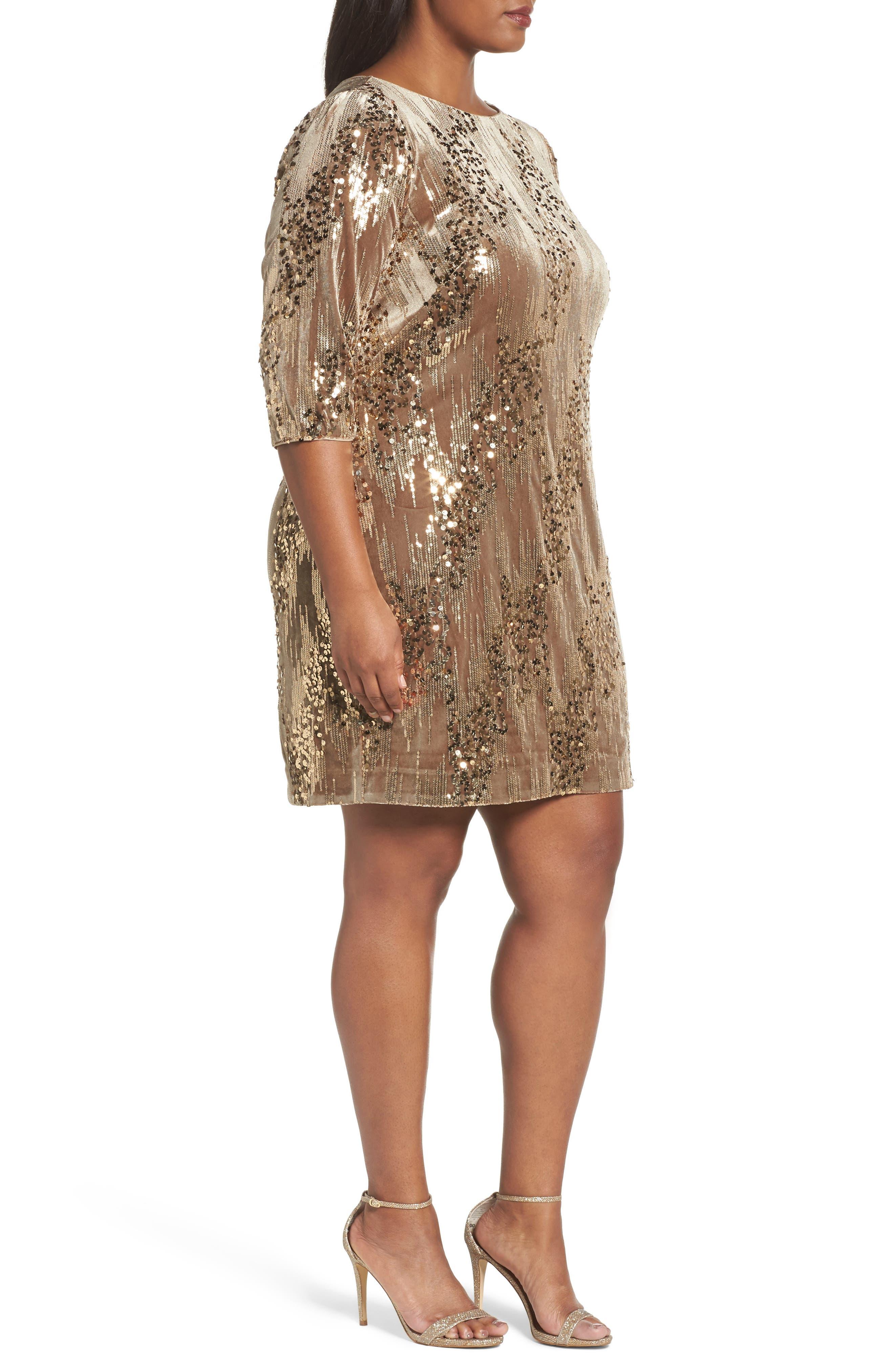 Sequin Sheath Dress,                             Alternate thumbnail 3, color,                             Tan