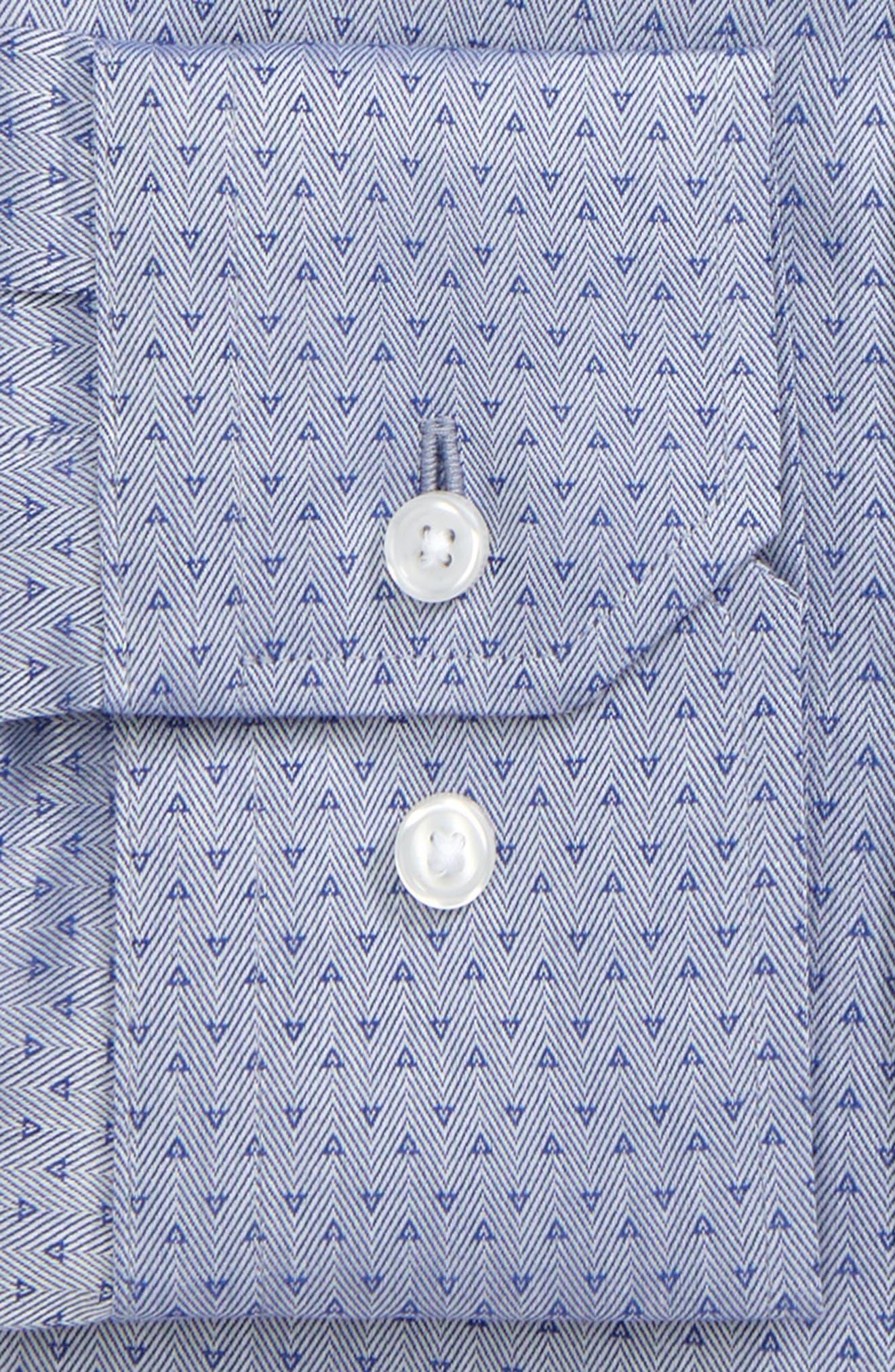 Trim Fit Print Dress Shirt,                             Alternate thumbnail 2, color,                             Blue Marine