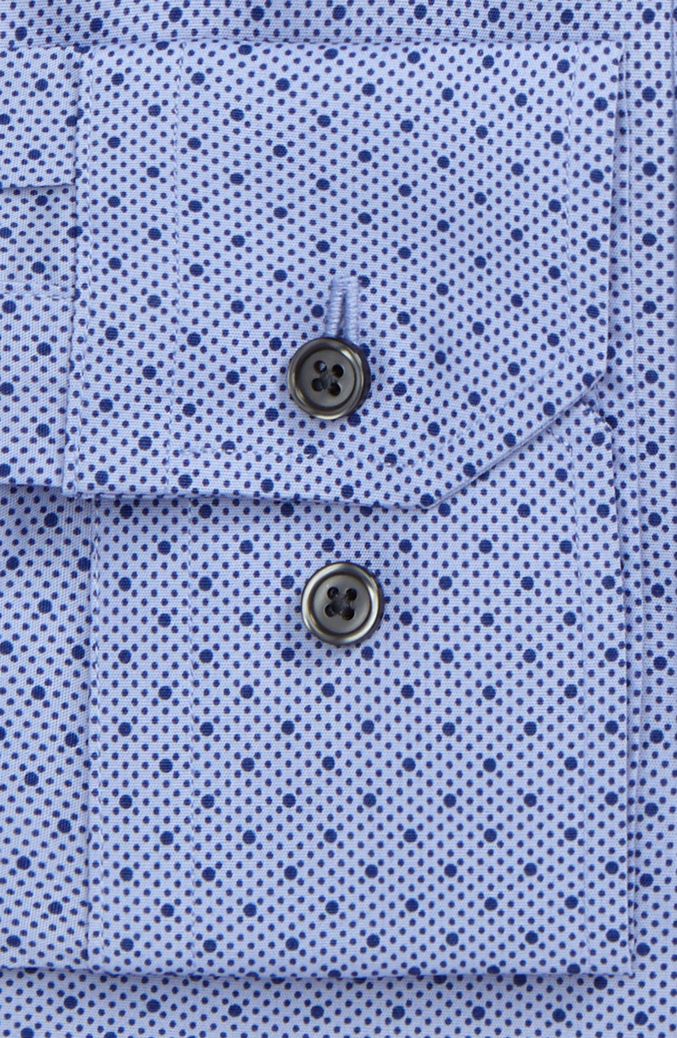 Trim Fit Stretch Dot Dress Shirt,                             Alternate thumbnail 2, color,                             Blue Clematis