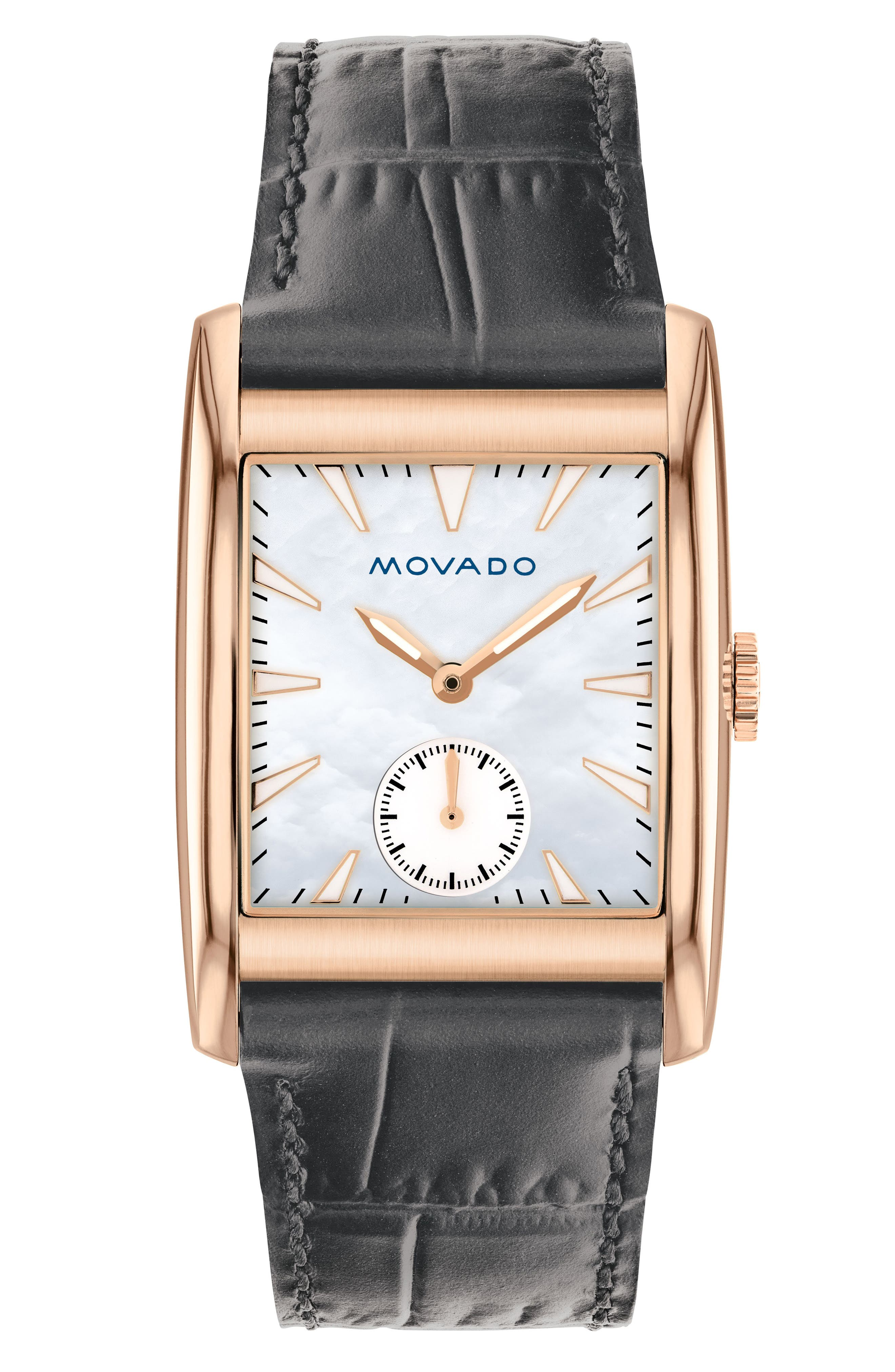 Movado Heritage Leather Strap Watch, 38mm