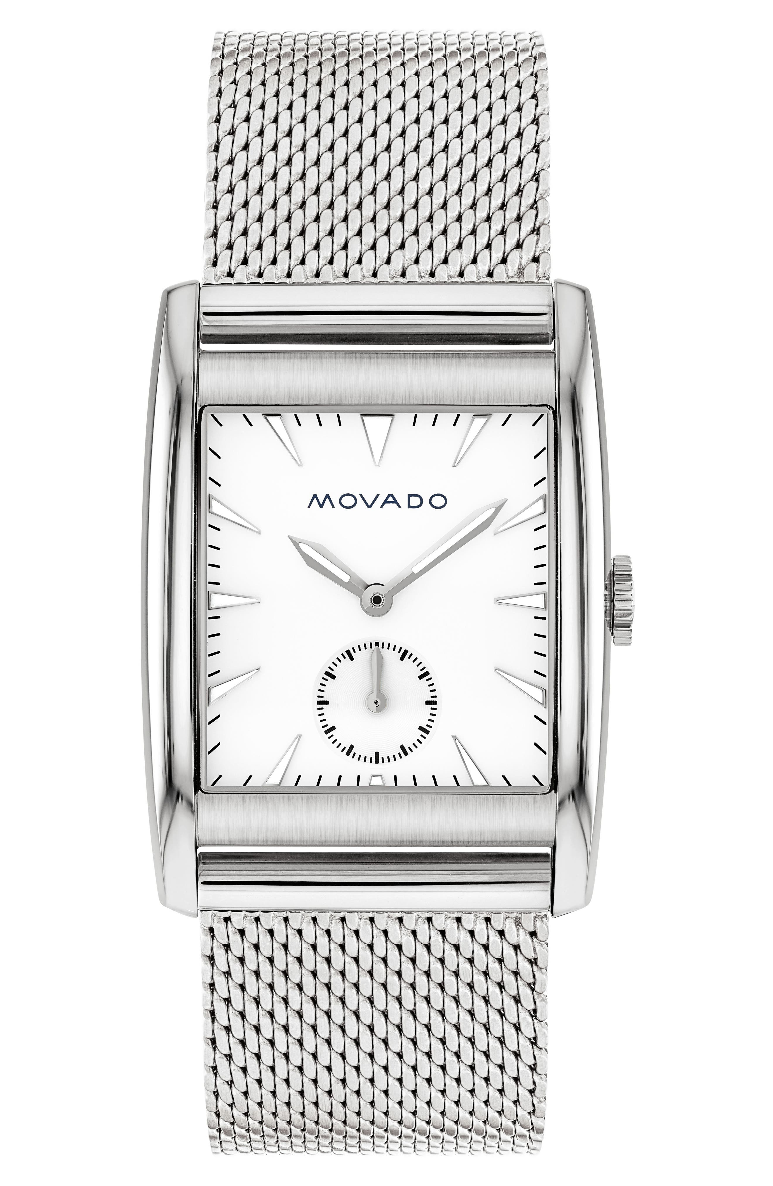 Heritage Mesh Strap Watch, 41mm,                         Main,                         color, Silver/ White/ Silver