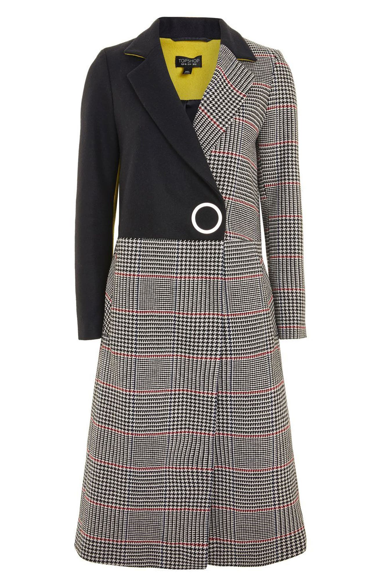 Colorblock Check Wool Blend Coat,                             Alternate thumbnail 4, color,                             Navy Blue Multi