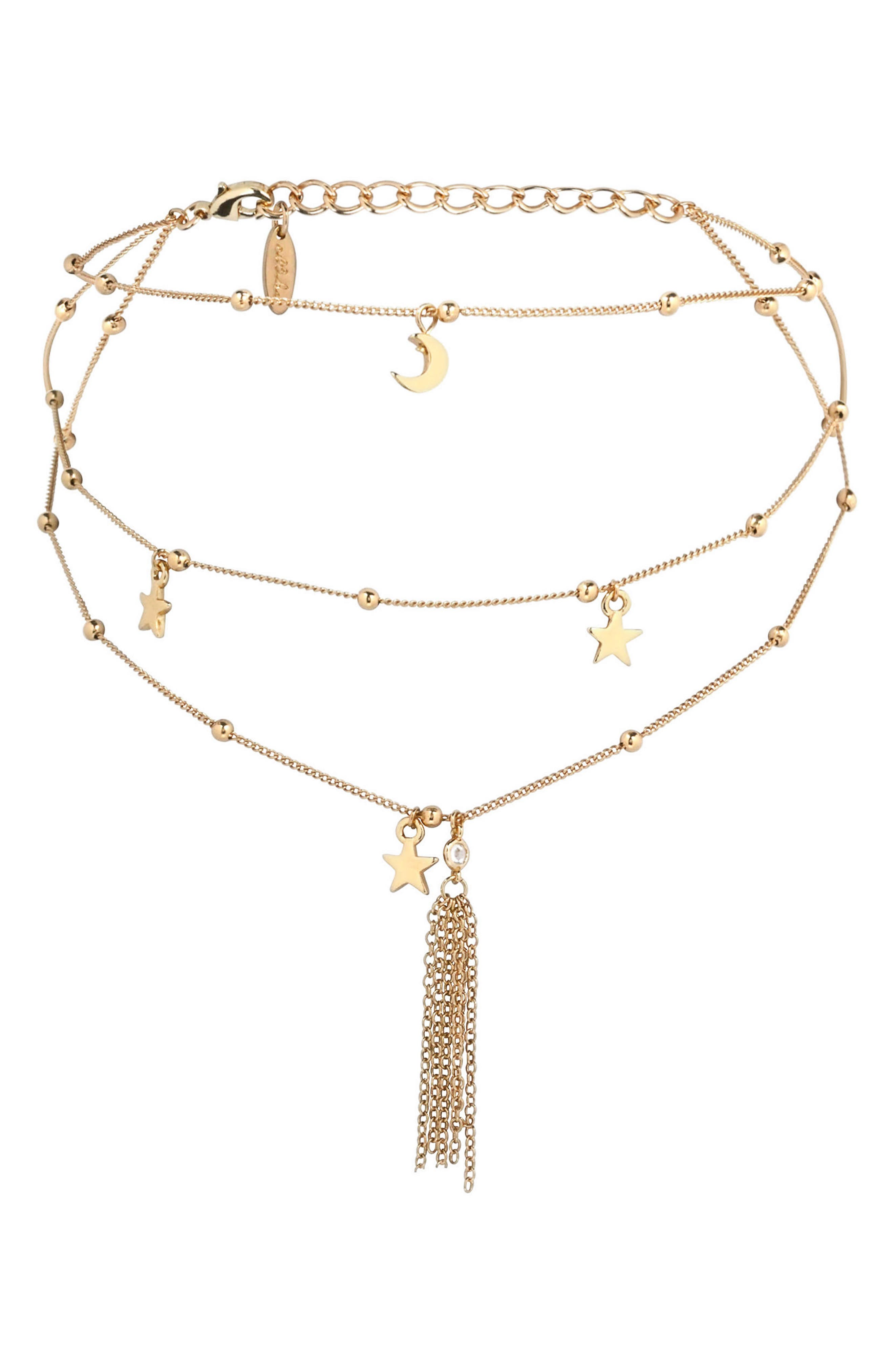 Charm Layered Choker,                         Main,                         color, Gold