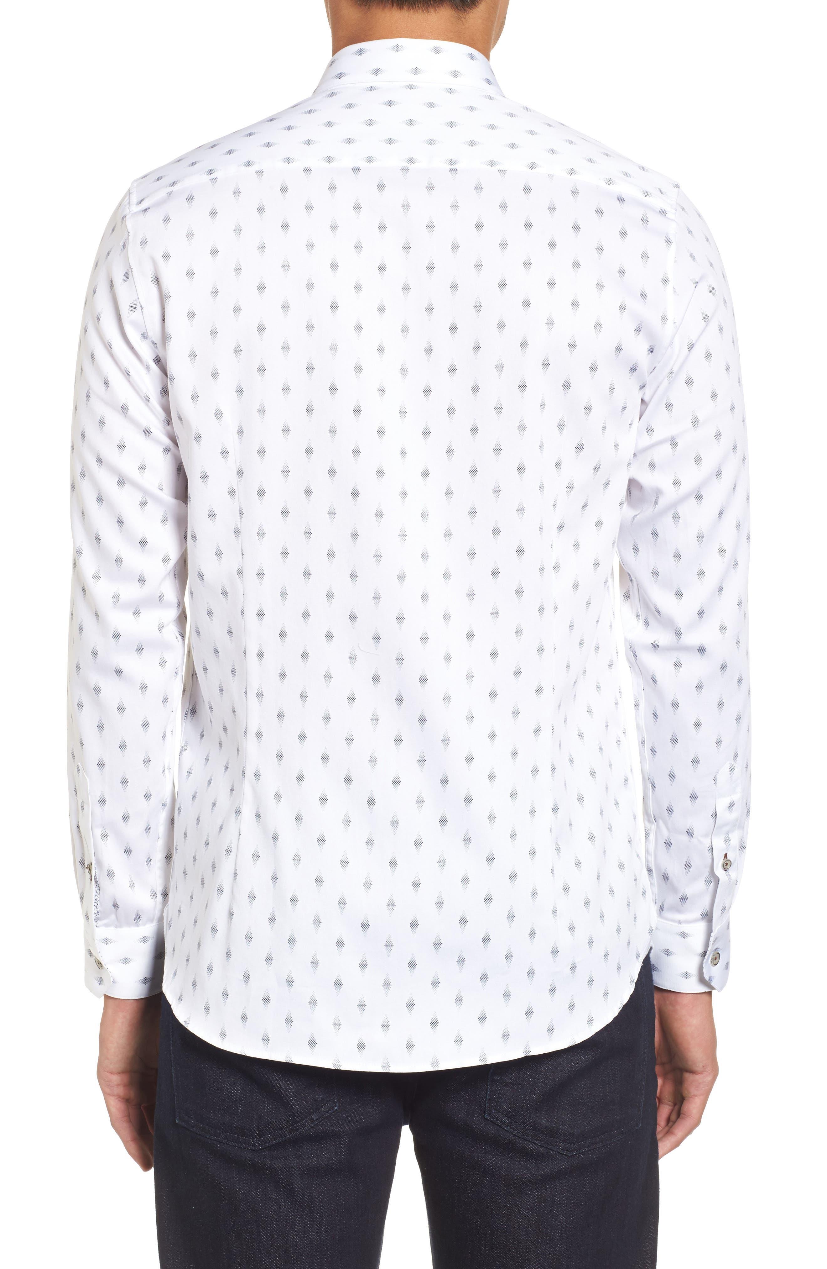 Monico Slim Fit Dot Diamond Sport Shirt,                             Alternate thumbnail 3, color,                             White
