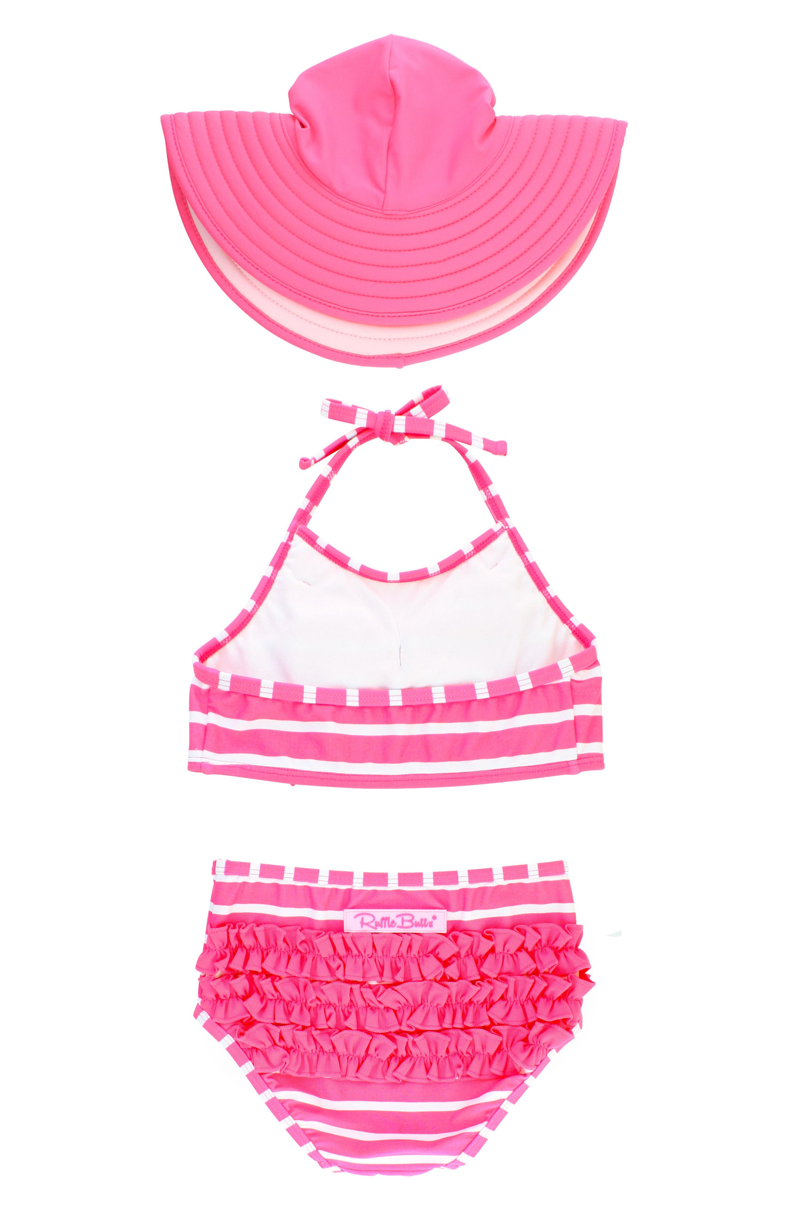Alternate Image 2  - RuffleButts Two-Piece Swimsuit & Hat Set (Baby Girls & Little Girls)