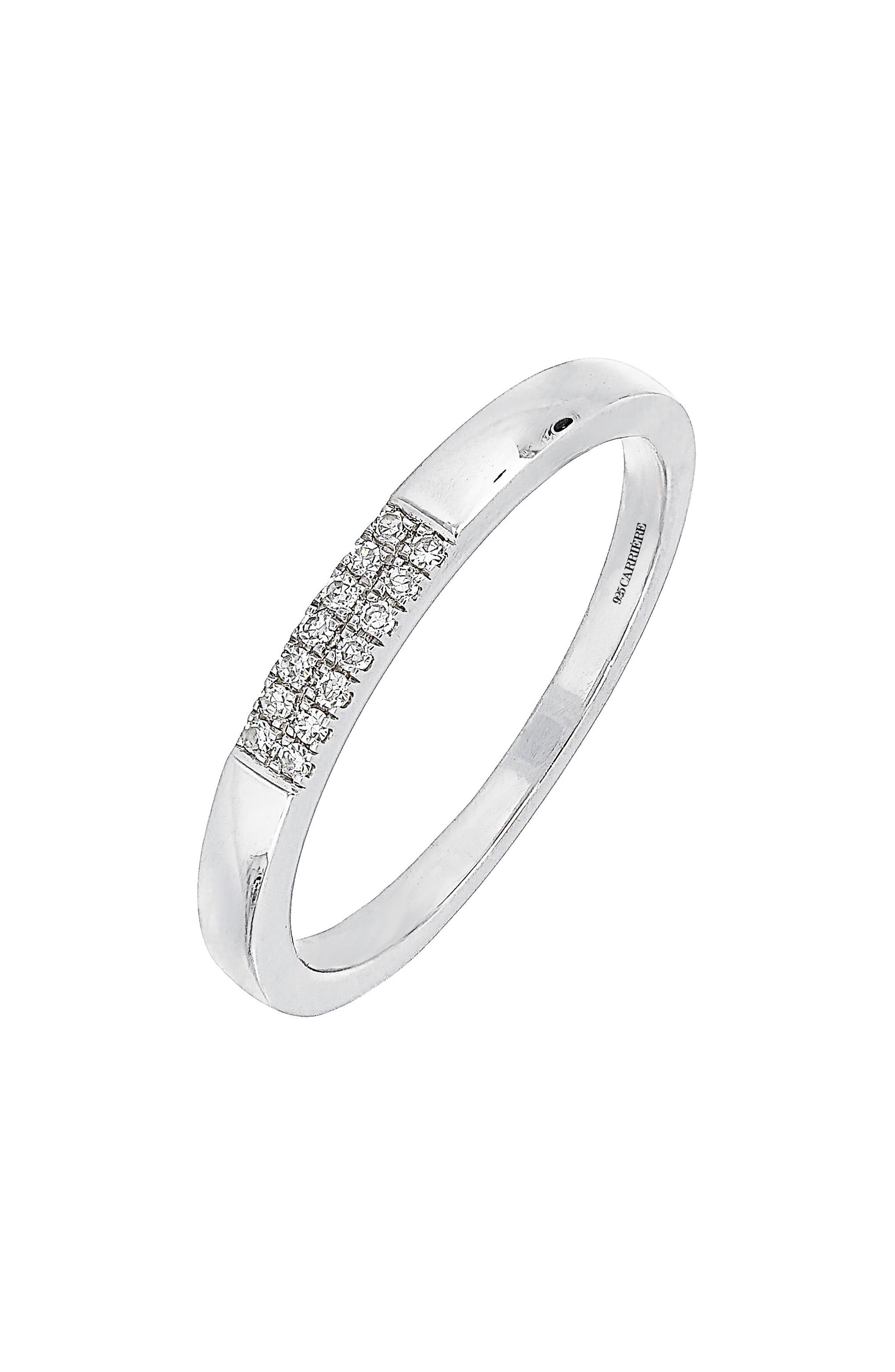 Carrière Diamond Stacking Ring,                             Main thumbnail 1, color,                             Silver/ Diamond