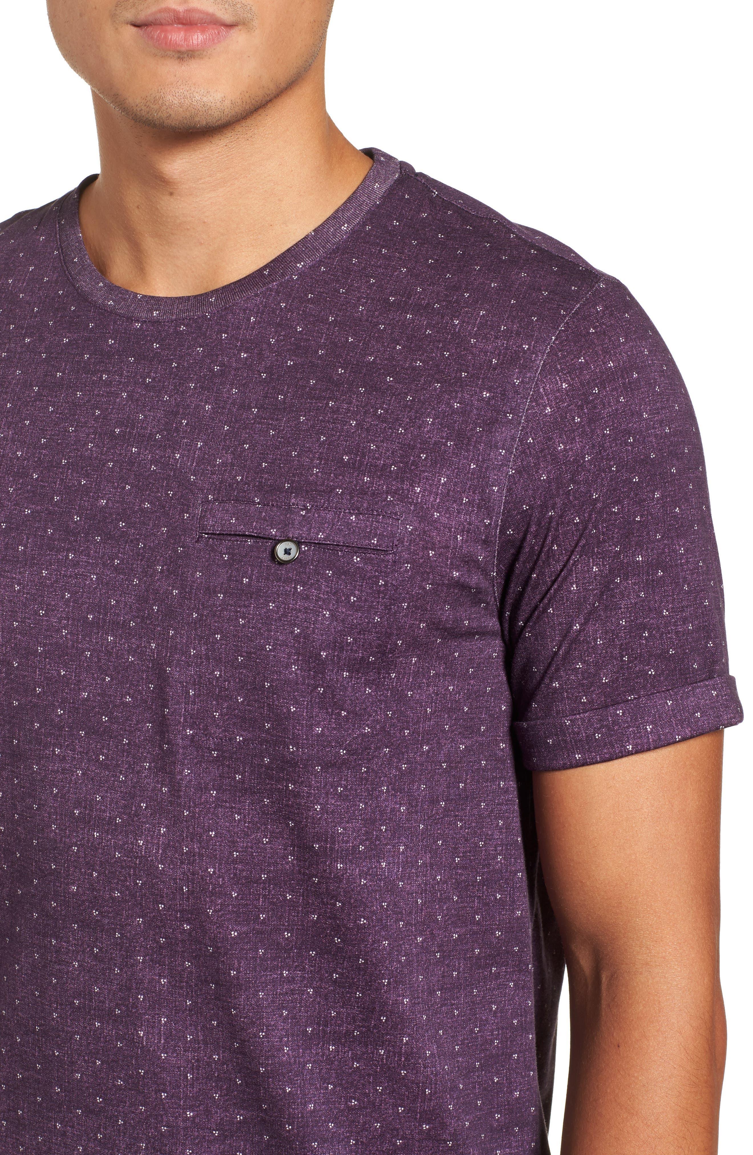 Giovani Modern Slim Fit Print T-Shirt,                             Alternate thumbnail 4, color,                             Purple