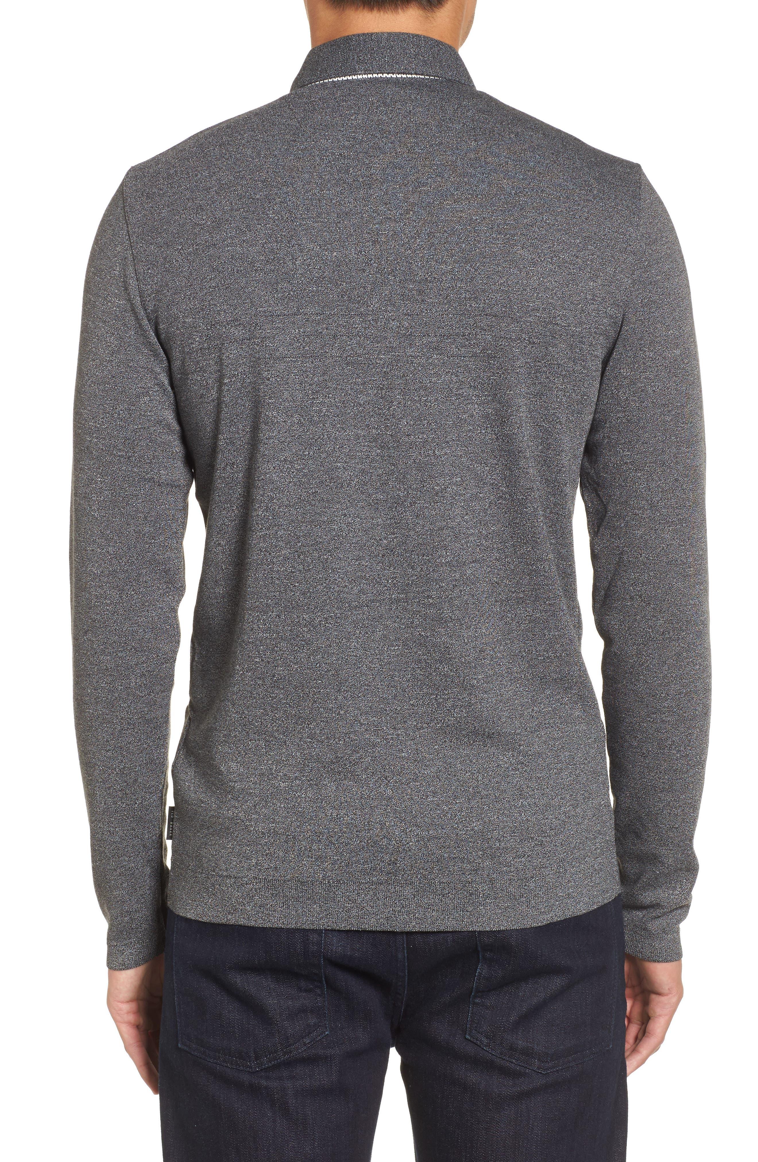 Yamway Modern Slim Fit Long Sleeve Polo,                             Alternate thumbnail 2, color,                             Black