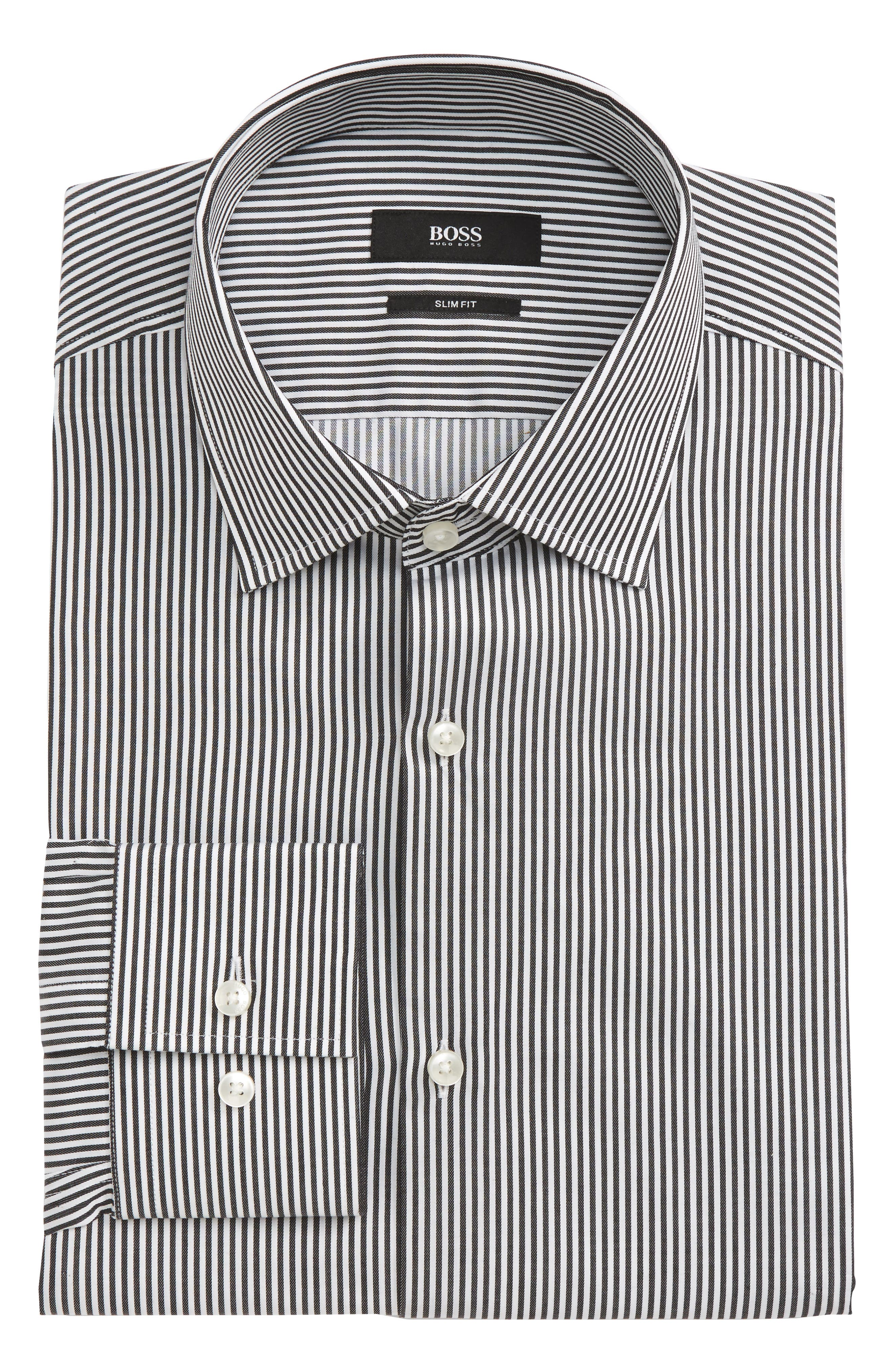 Alternate Image 1 Selected - BOSS Jenno Slim Fit Stripe Dress Shirt