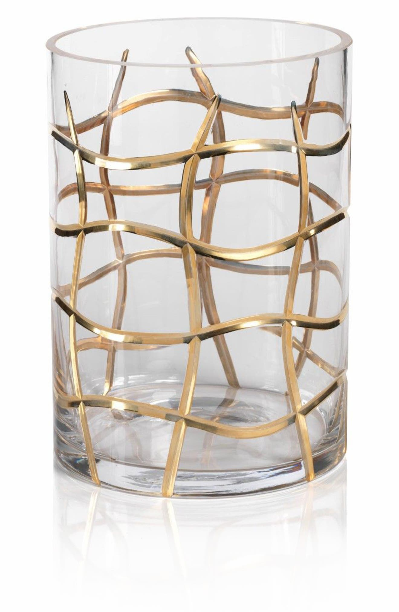 Small Groove Hurricane Candle Holder,                         Main,                         color, Clear/ Gold/ Metallic