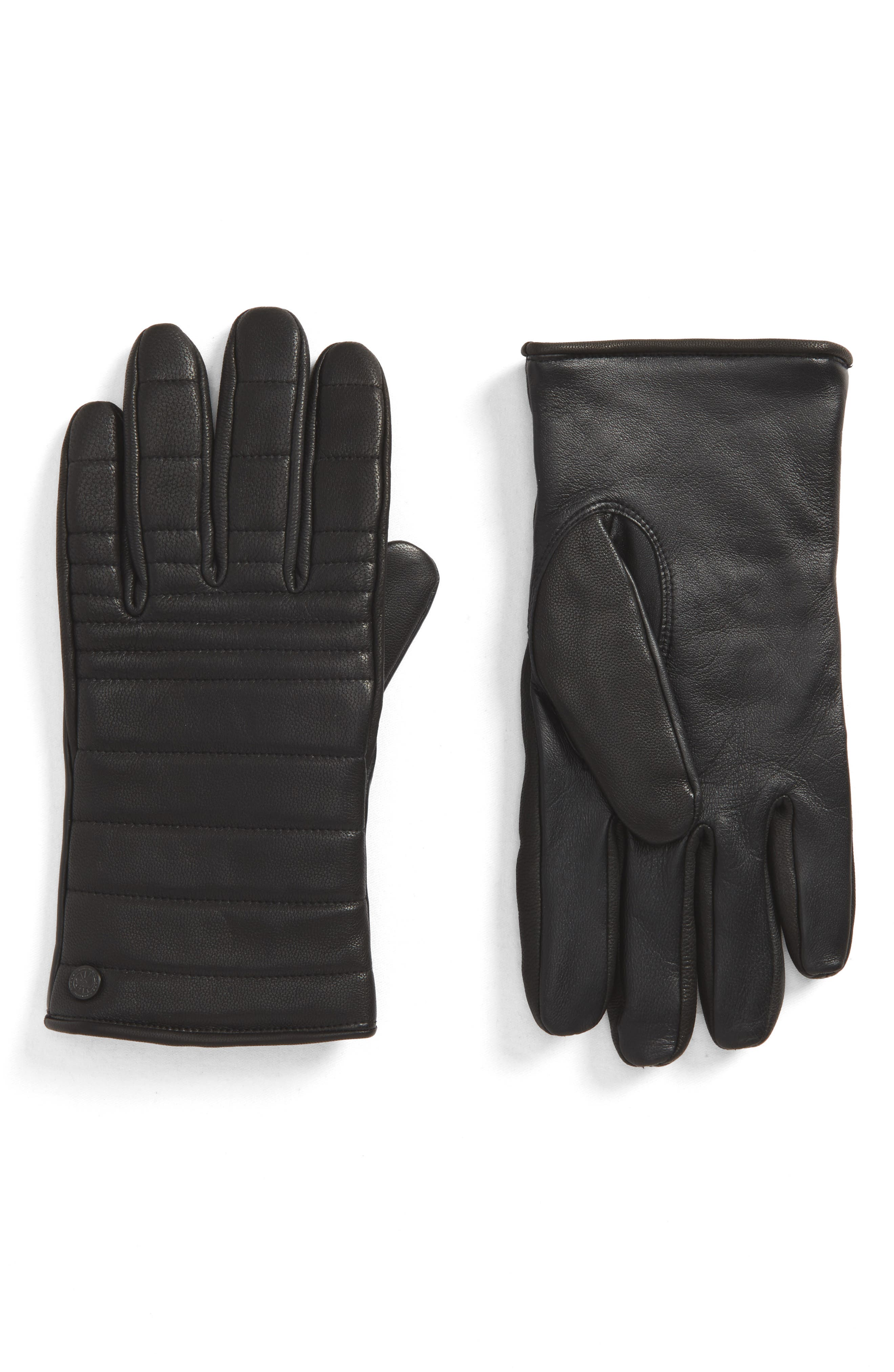 Quilted Leather Gloves,                             Main thumbnail 1, color,                             Black