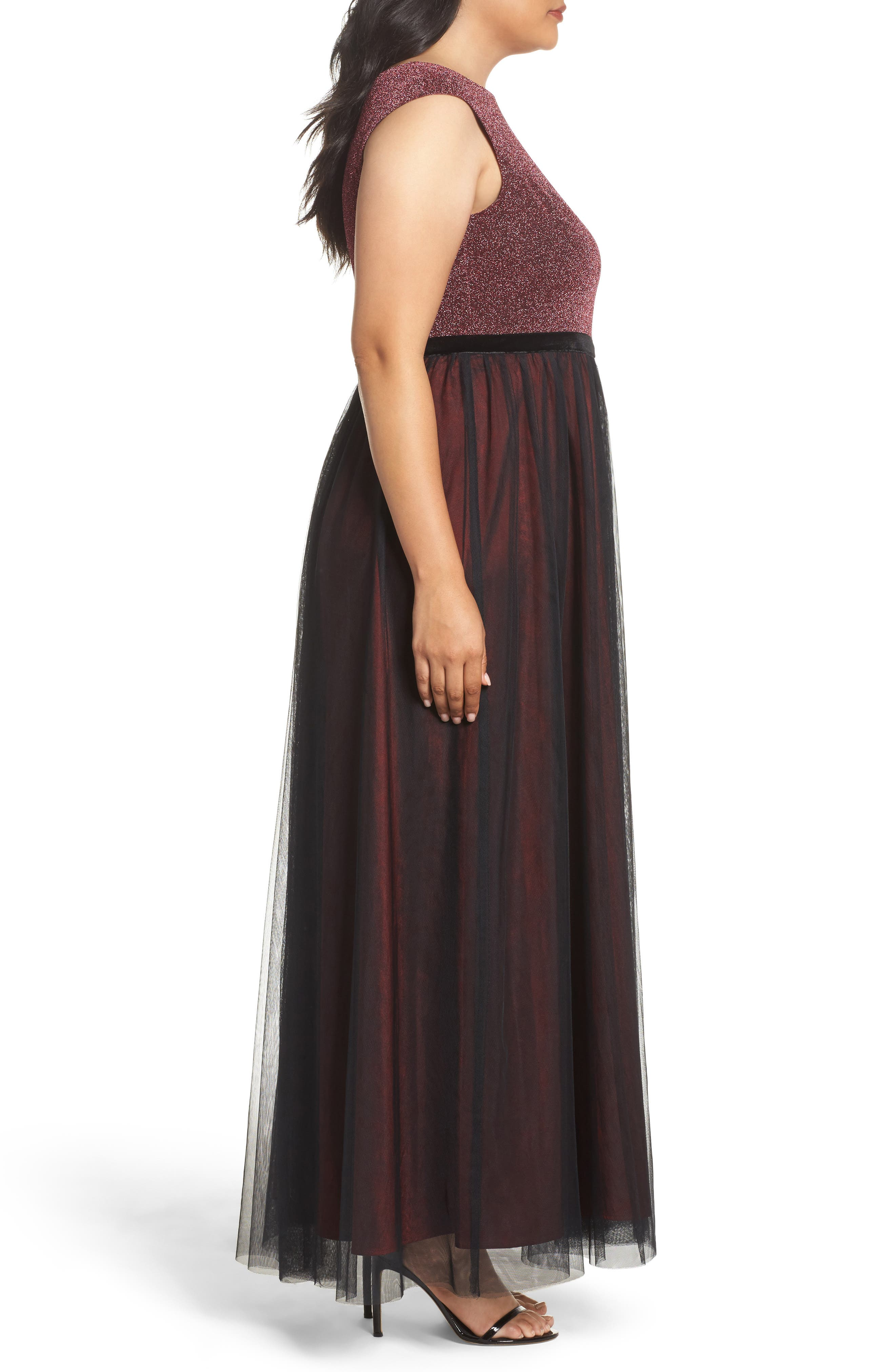 Metallic Knit & Tulle A-Line Gown,                             Alternate thumbnail 3, color,                             Black/ Berry