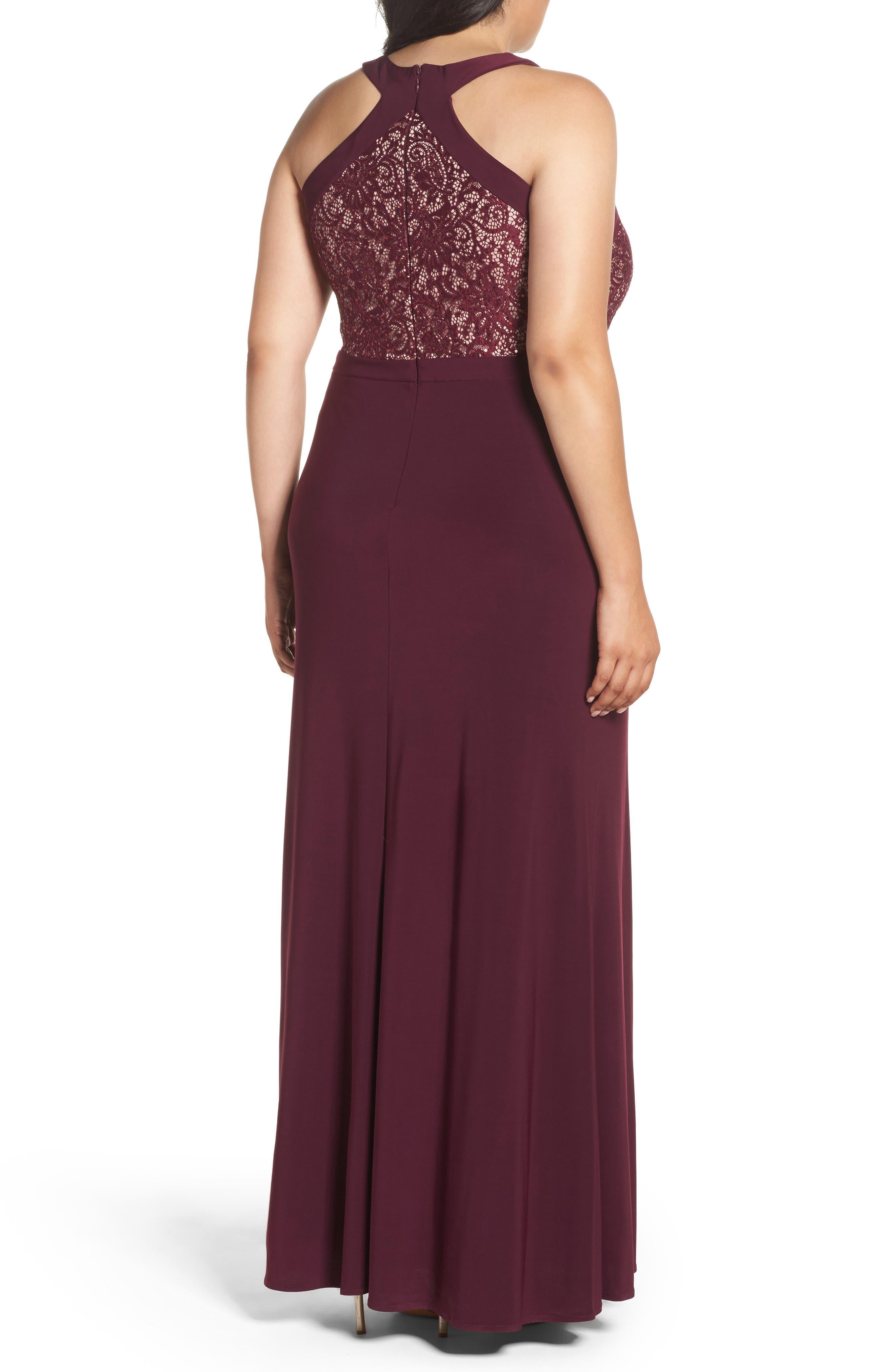 Lace Bodice Dress,                             Alternate thumbnail 2, color,                             Merlot/ Nude