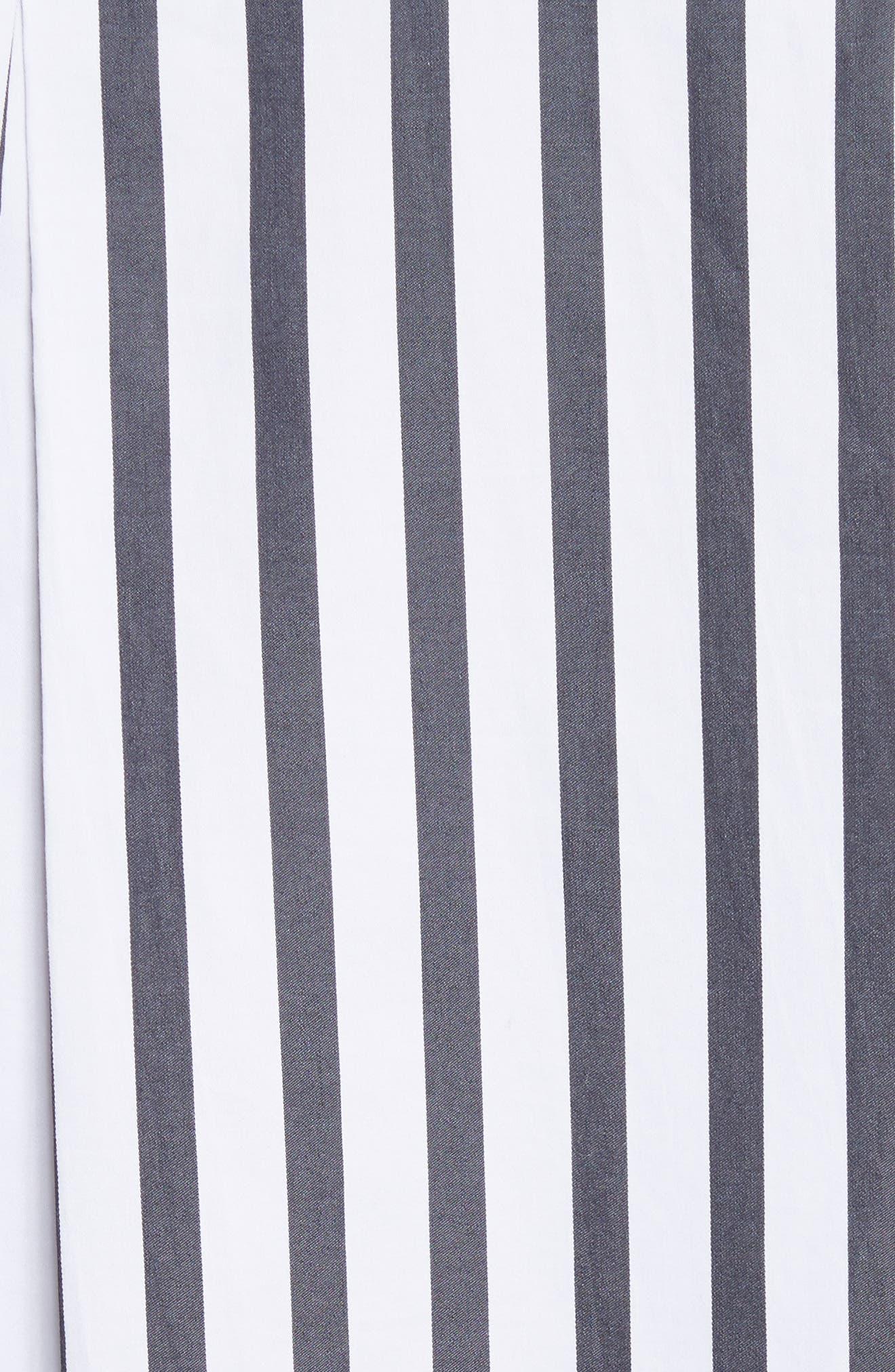 Rossi Contrast Stripe Button Down Shirt,                             Alternate thumbnail 5, color,                             Bright White/ Eclipse