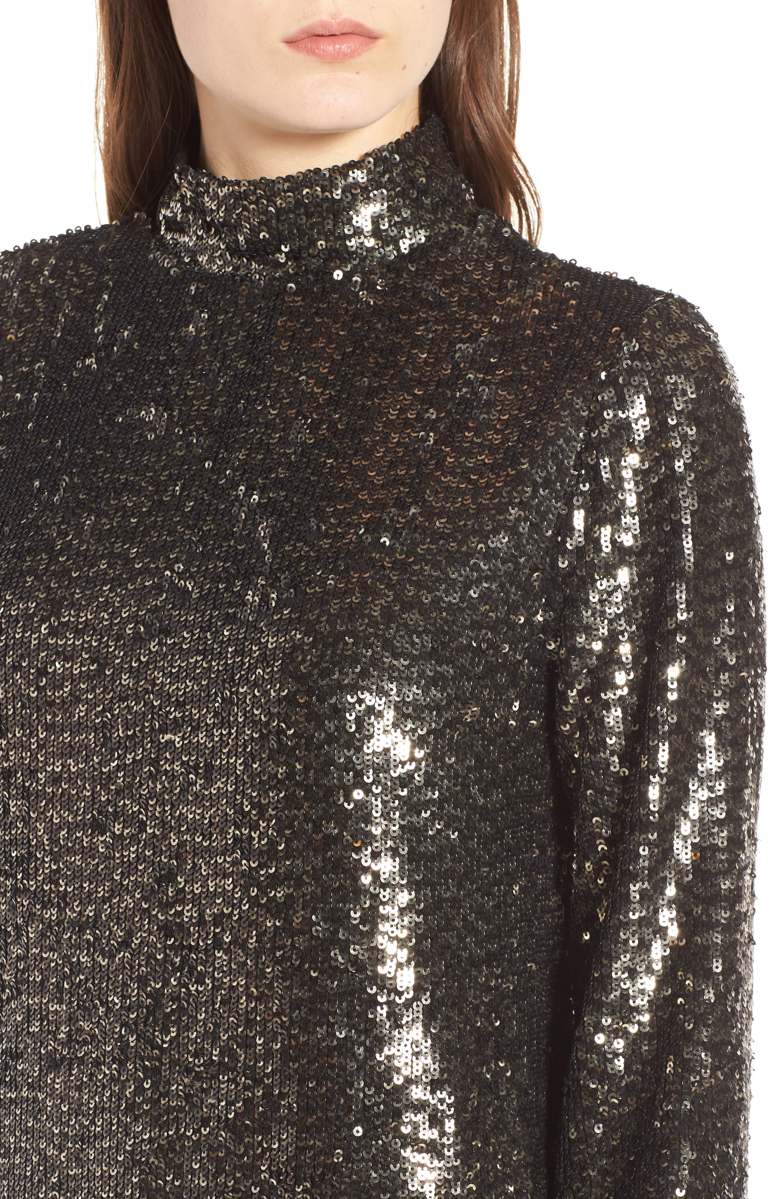 Sequin Shift Dress,                             Alternate thumbnail 4, color,                             Silver Multi
