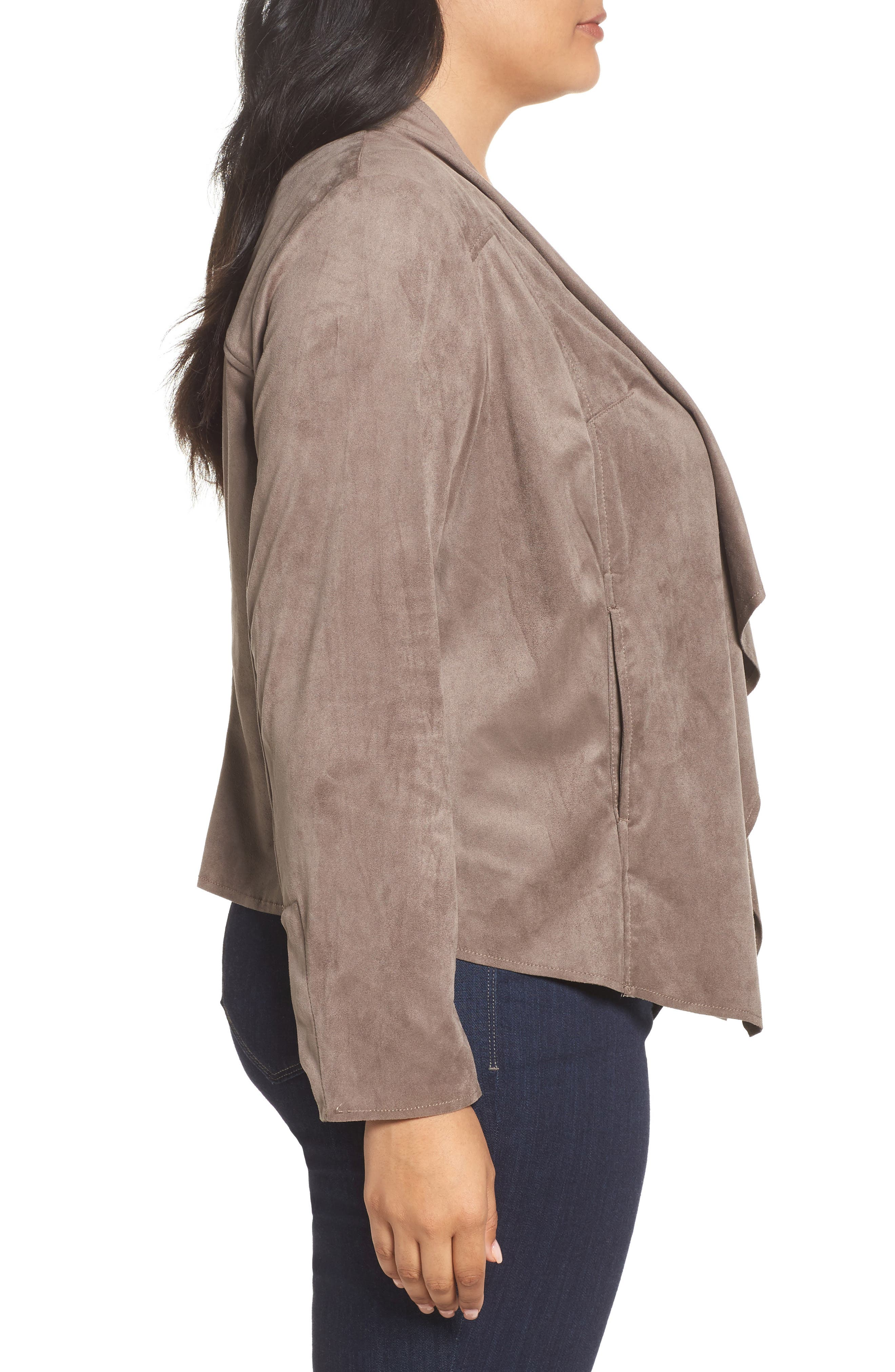 Alternate Image 3  - KUT from the Kloth Drape Front Faux Suede Jacket (Plus Size)