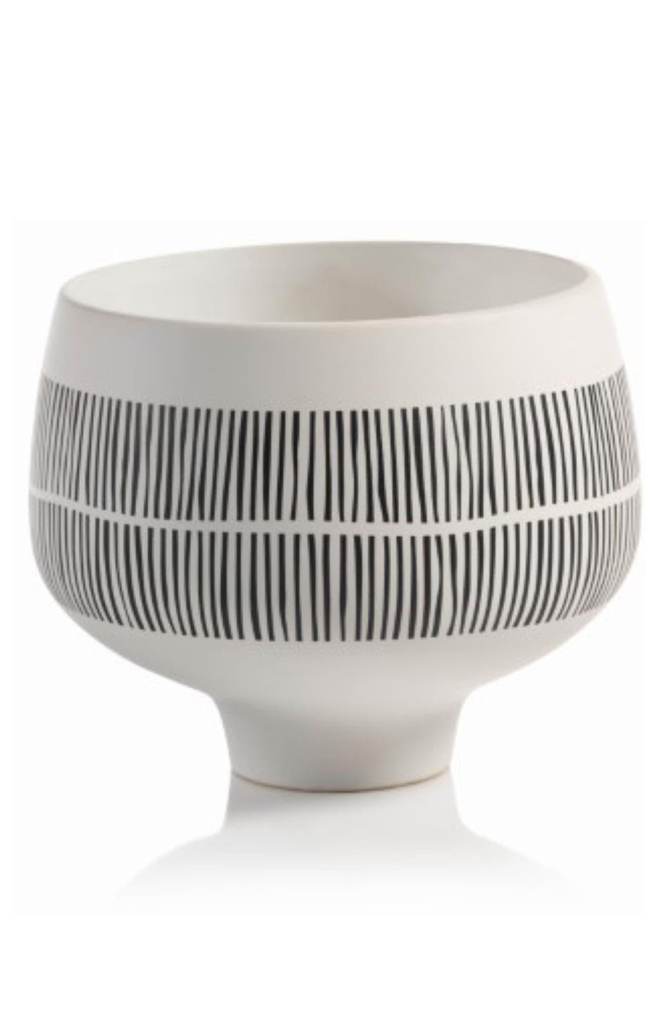 Marquesa Ceramic Pedestal Bowl,                         Main,                         color, White