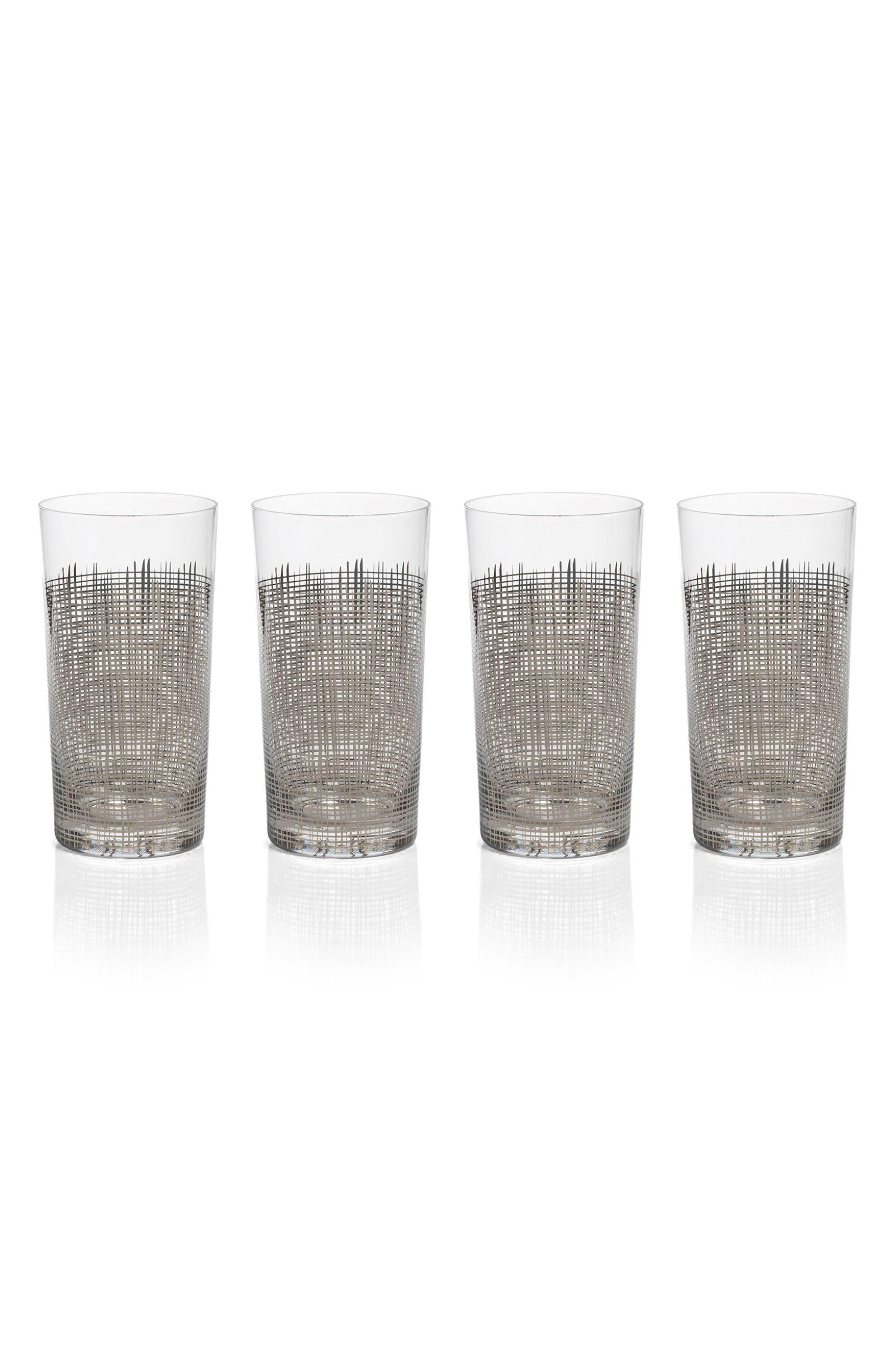 Reza Set of 4 Highball Glasses,                         Main,                         color, Platinum