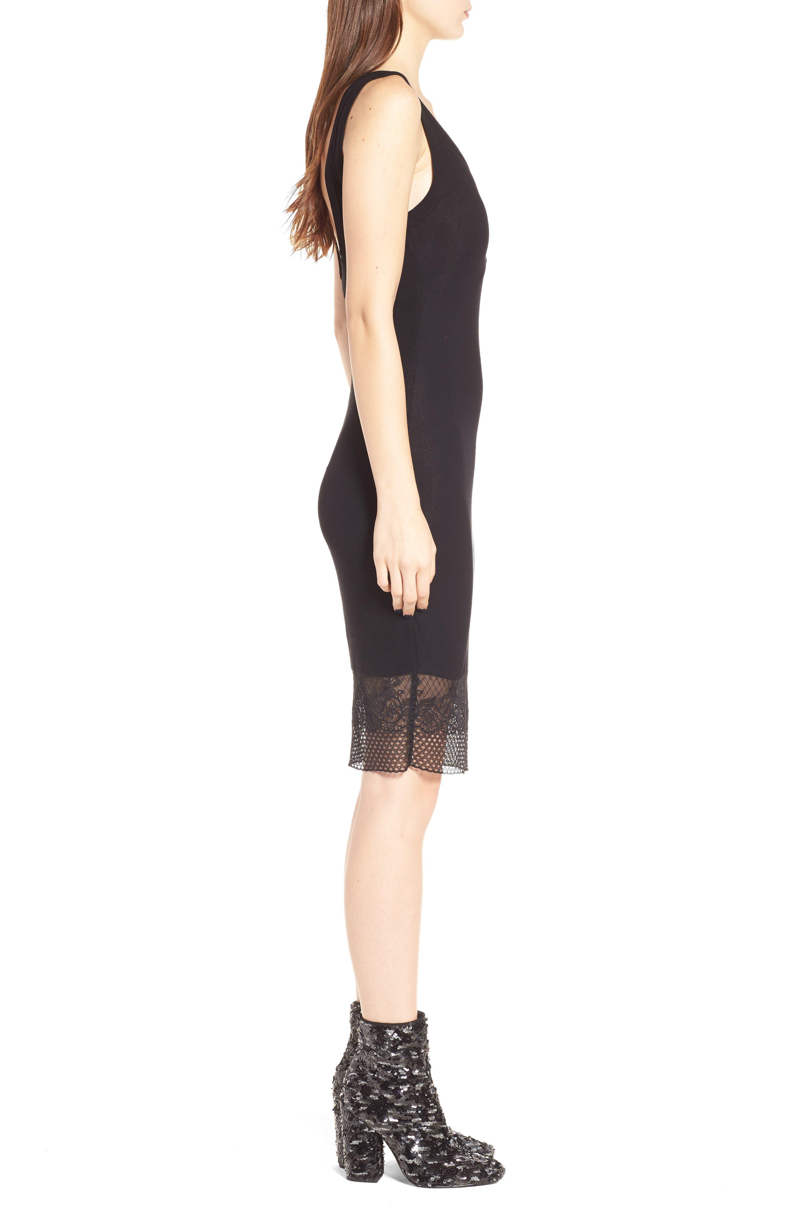 Lace Hem Tank Dress,                             Alternate thumbnail 3, color,                             Black