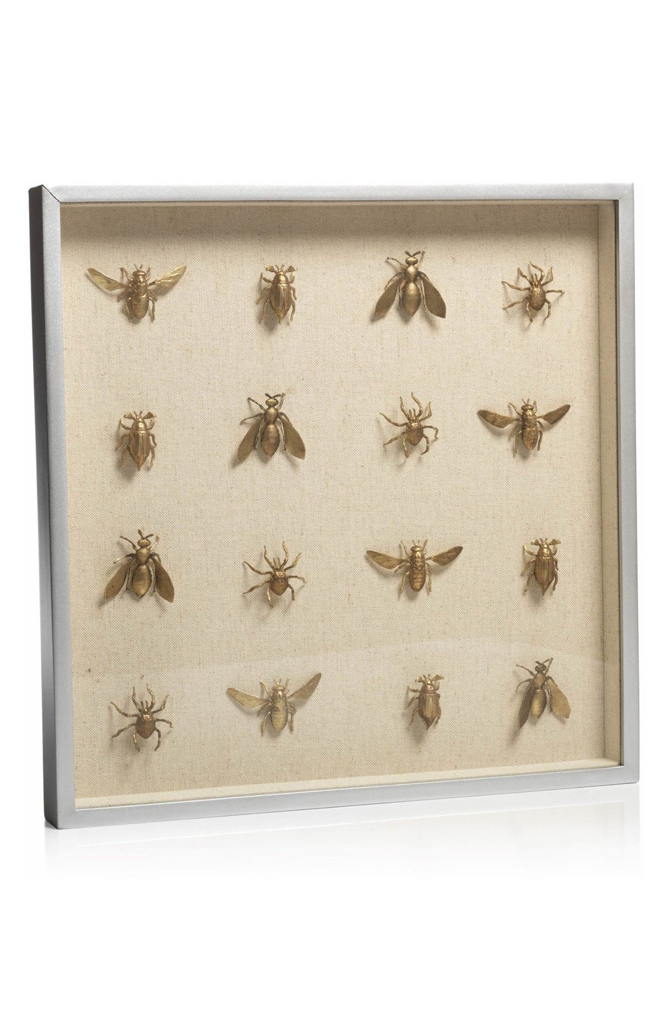 Insect Shadow Box Art,                             Main thumbnail 1, color,                             Off-White/ Gold/ Beige