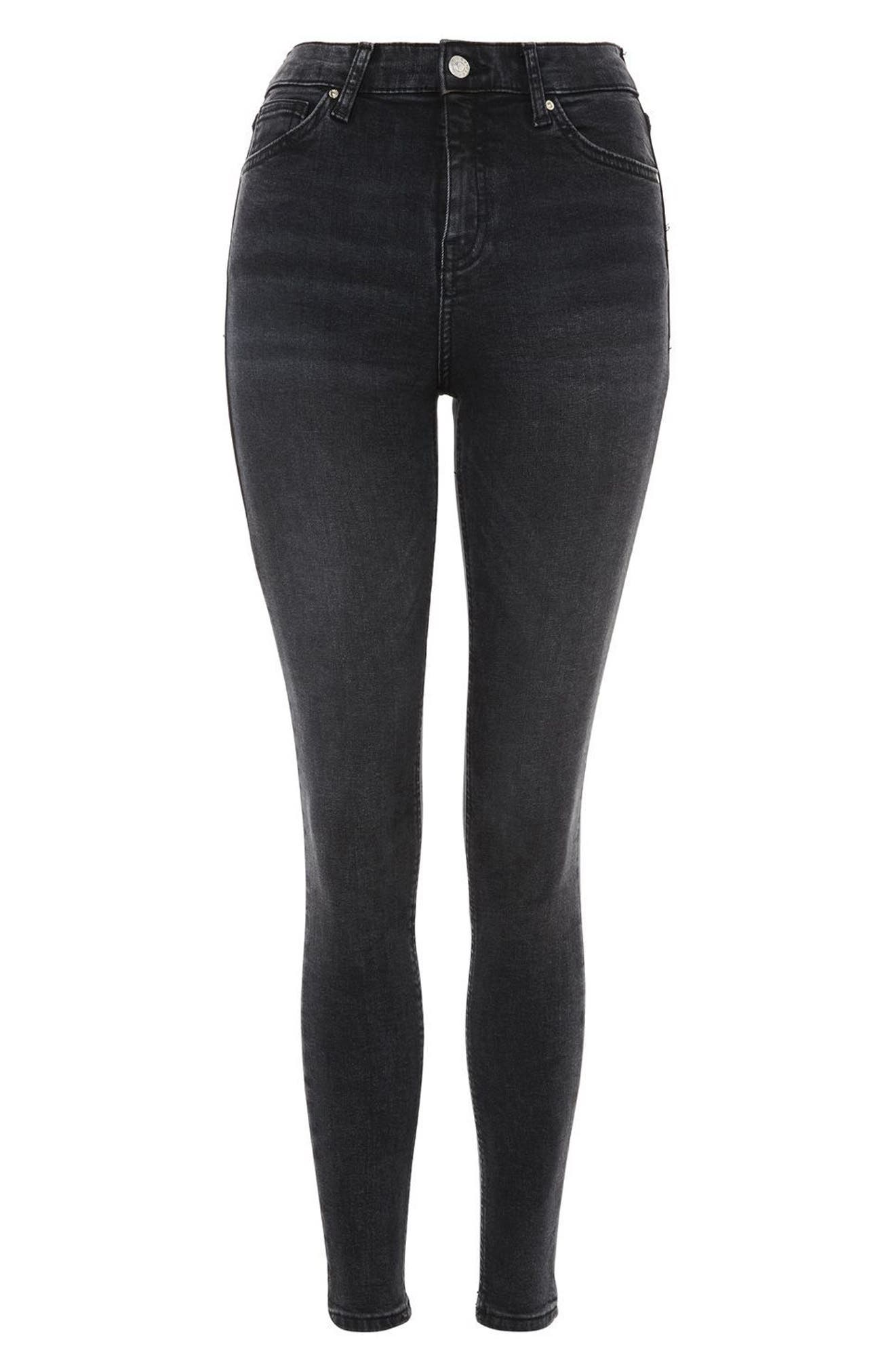 Jamie High Waist Ankle Skinny Jeans,                             Alternate thumbnail 3, color,                             Washed Black