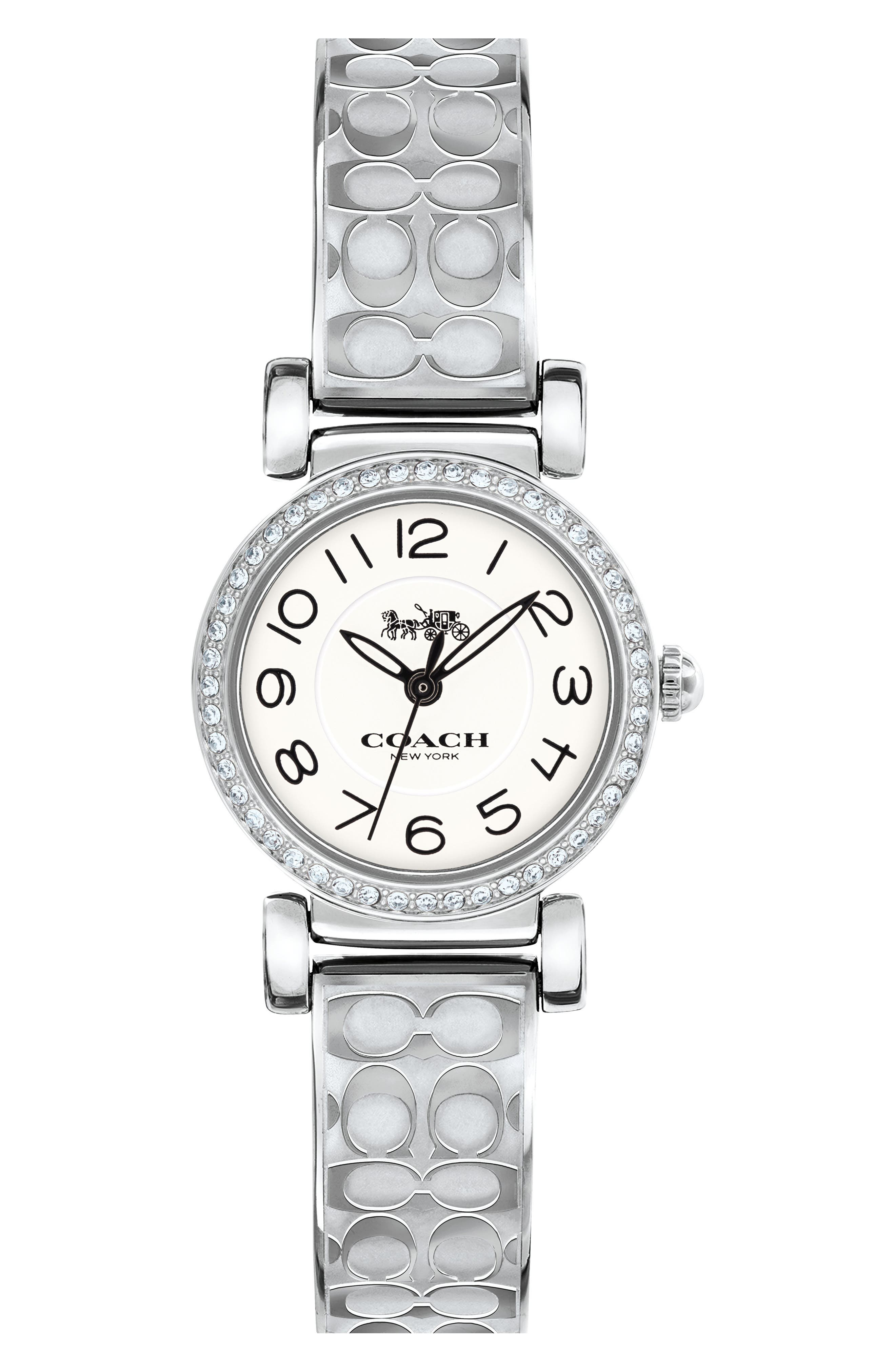 Madison Crystal Bracelet Watch, 23mm,                         Main,                         color, Silver/ White/ Silver