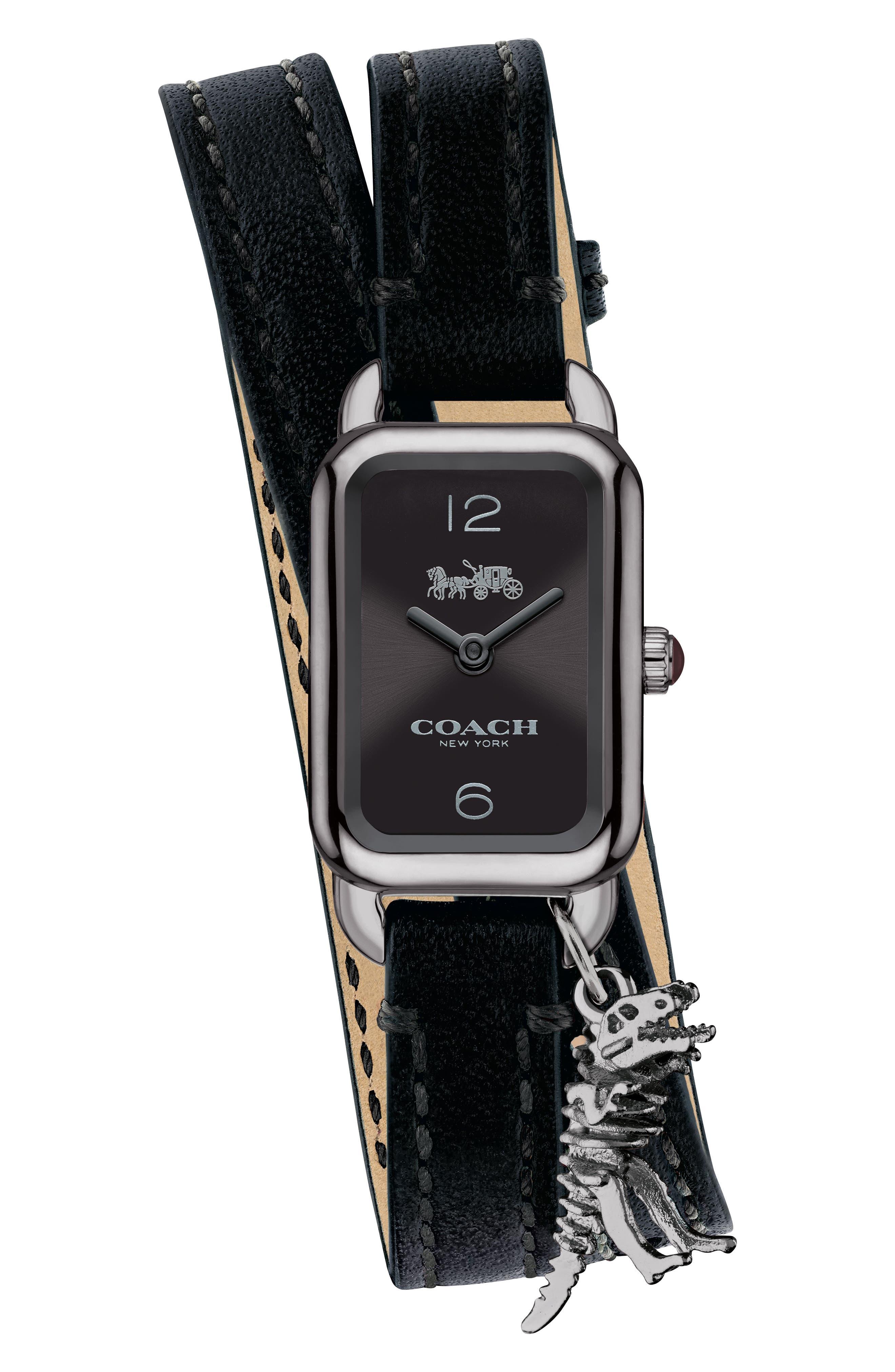 Ludlow Double Wrap Leather Strap Watch, 17mm x 24mm,                         Main,                         color, Black/ Gunmetal