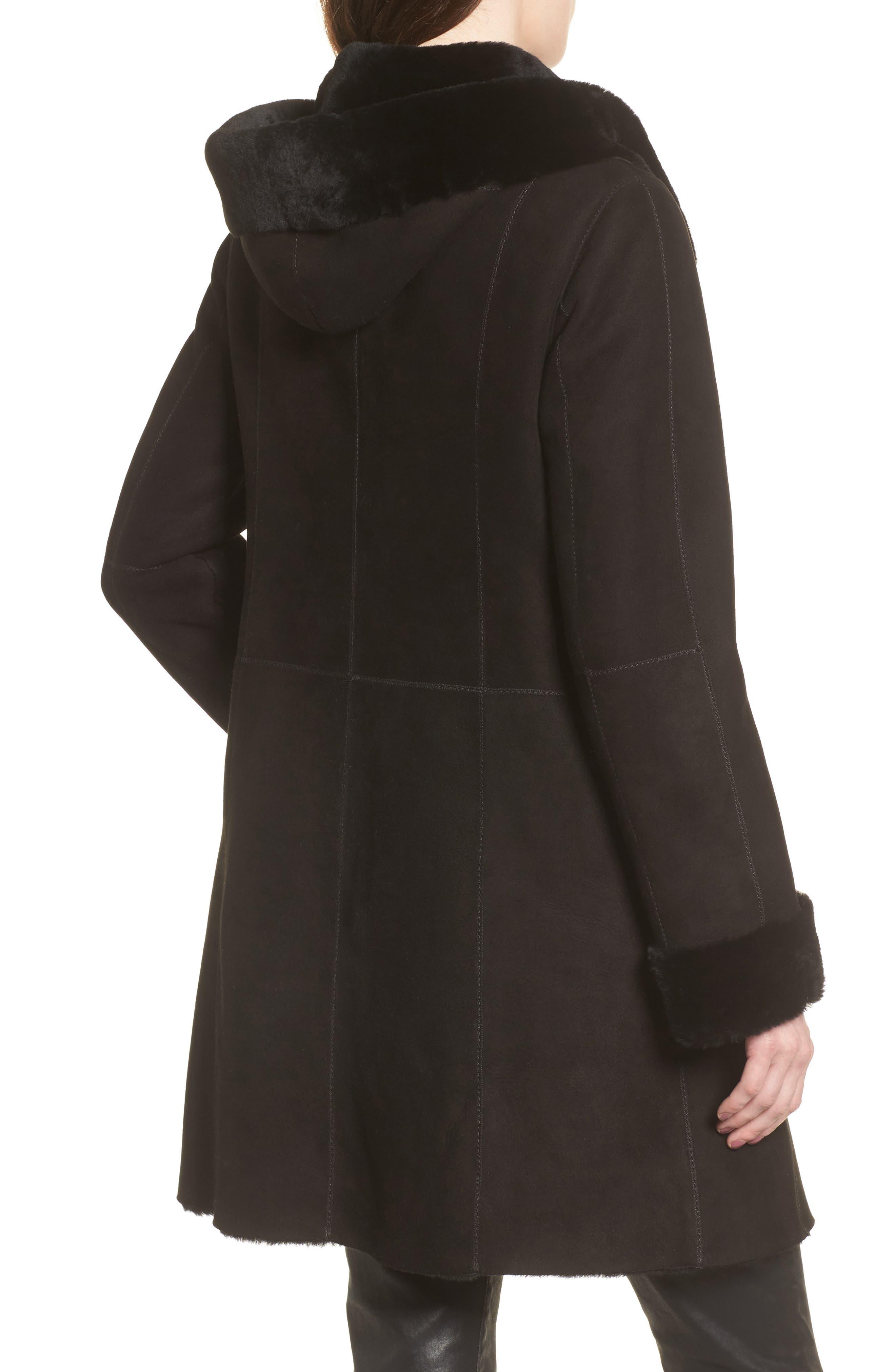 Genuine Shearling Coat,                             Alternate thumbnail 2, color,                             Black