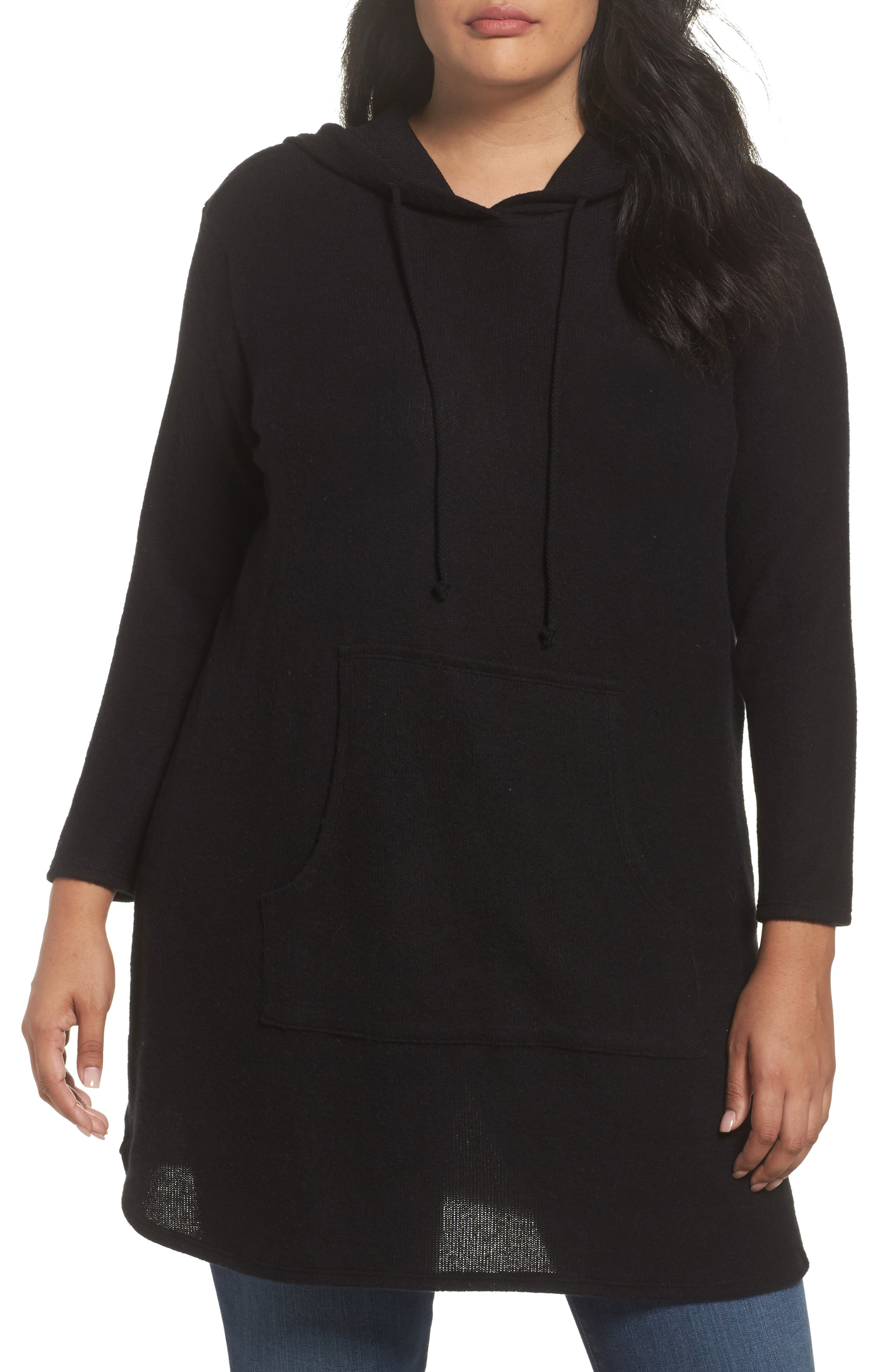 Caslon® Hooded Knit Tunic (Plus Size)