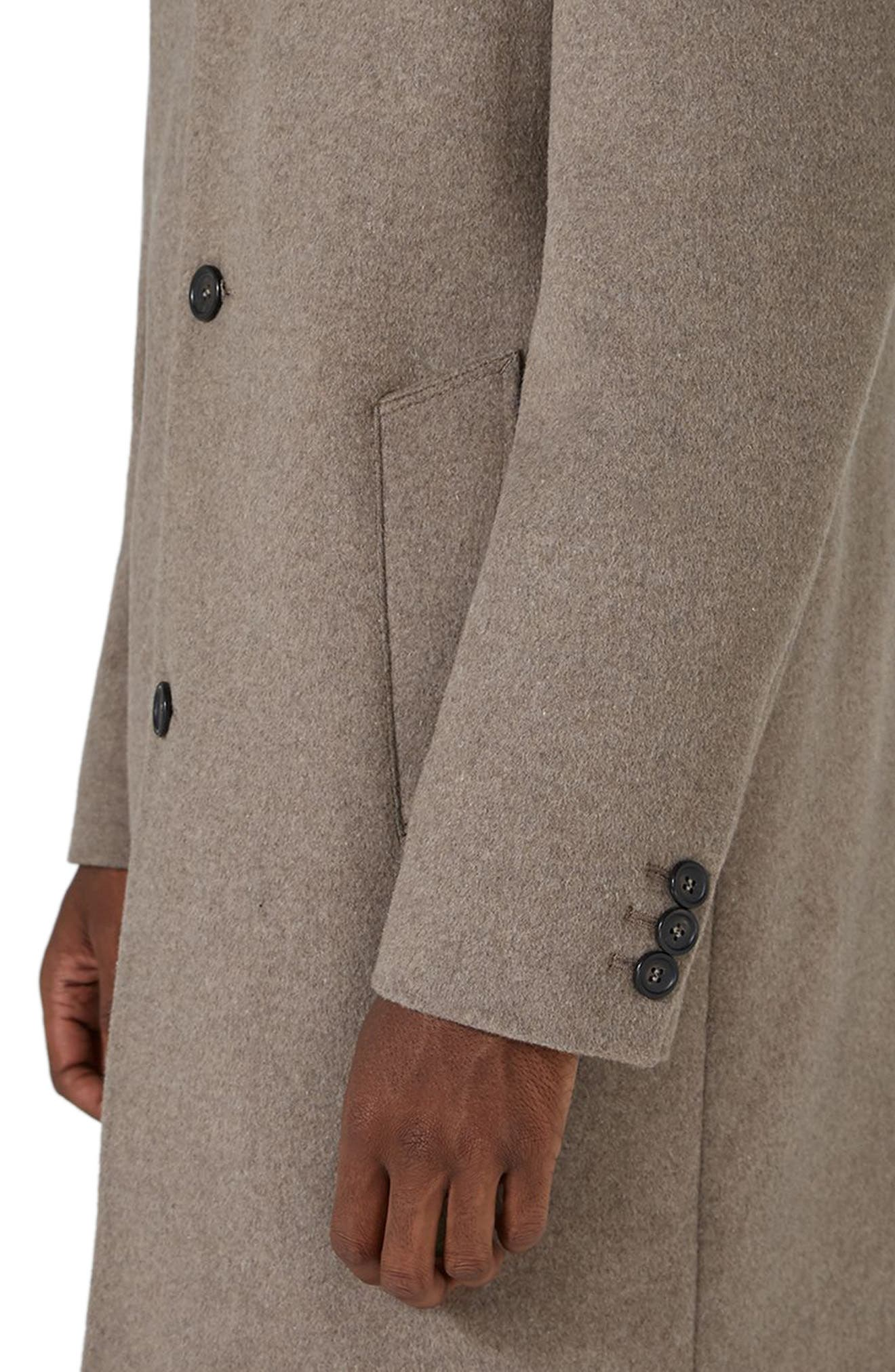 Classic Fit Overcoat,                             Alternate thumbnail 3, color,                             Brown