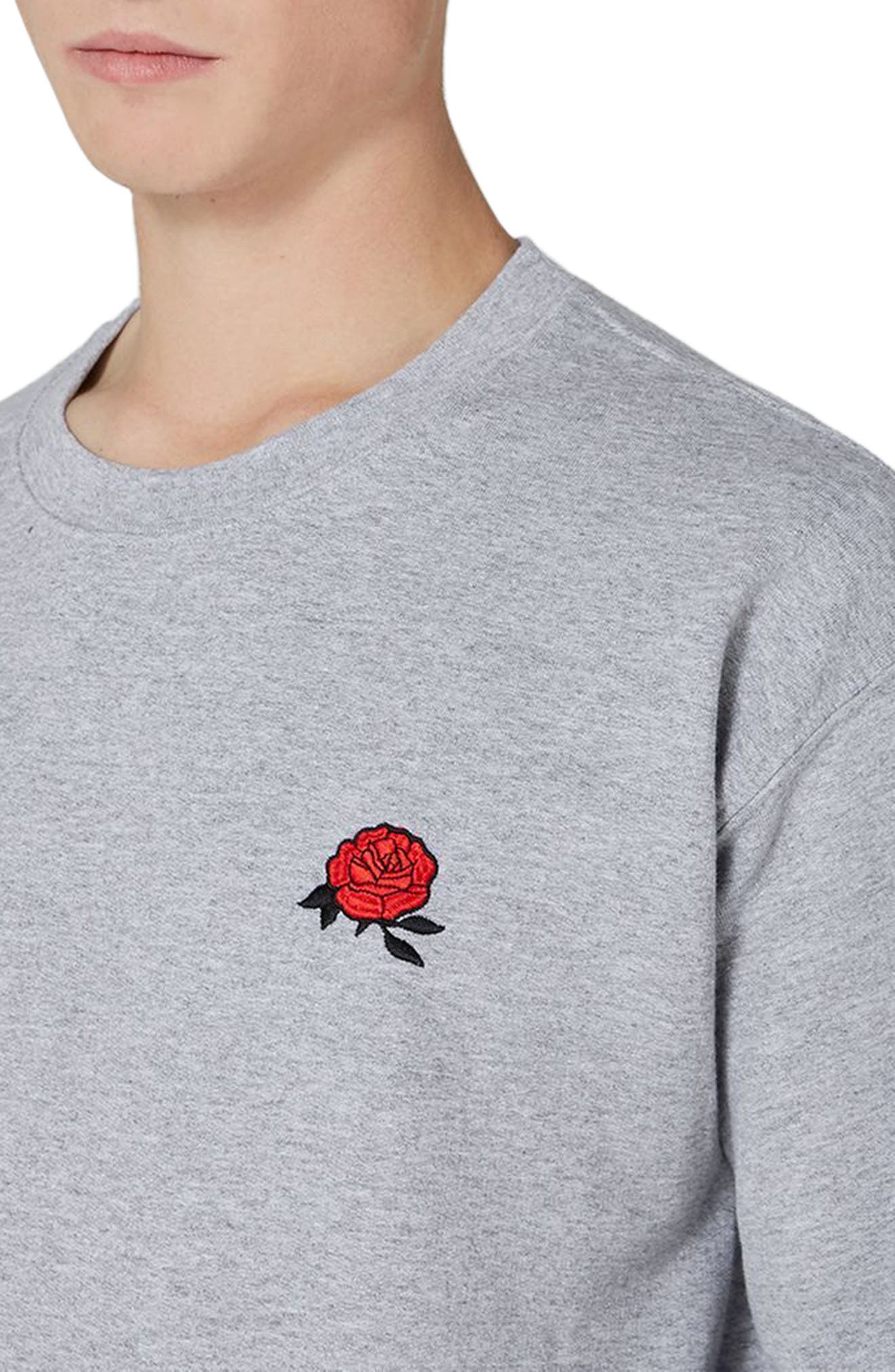 Rose Embroidered Sweatshirt,                             Alternate thumbnail 3, color,                             Light Grey